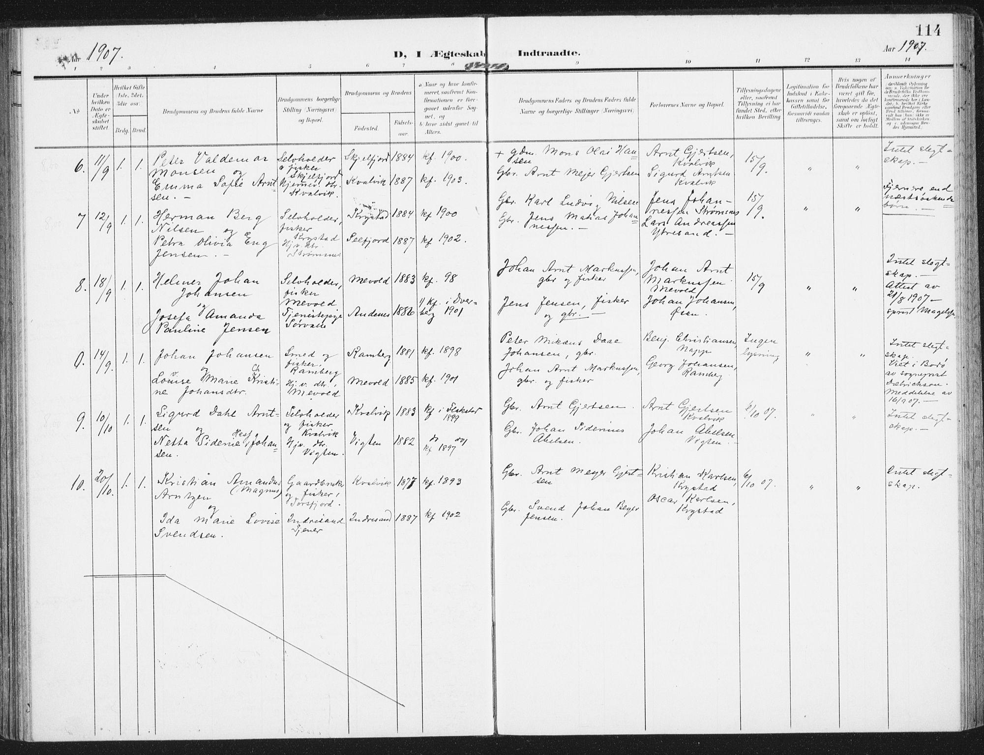 SAT, Ministerialprotokoller, klokkerbøker og fødselsregistre - Nordland, 885/L1206: Ministerialbok nr. 885A07, 1905-1915, s. 114