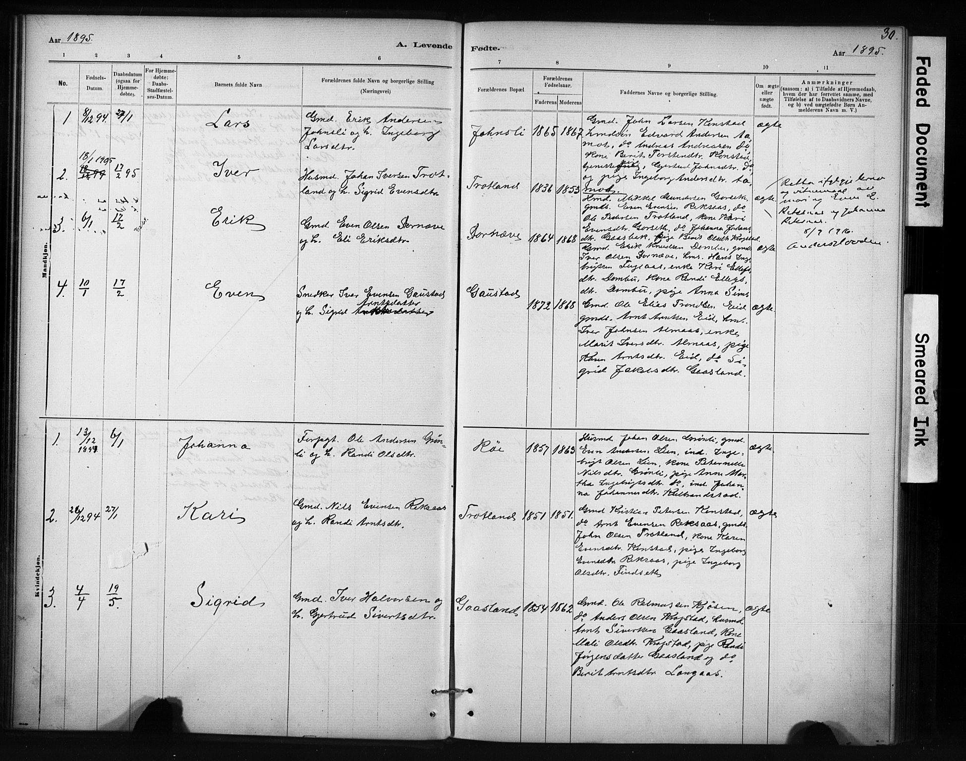 SAT, Ministerialprotokoller, klokkerbøker og fødselsregistre - Sør-Trøndelag, 694/L1127: Ministerialbok nr. 694A01, 1887-1905, s. 30