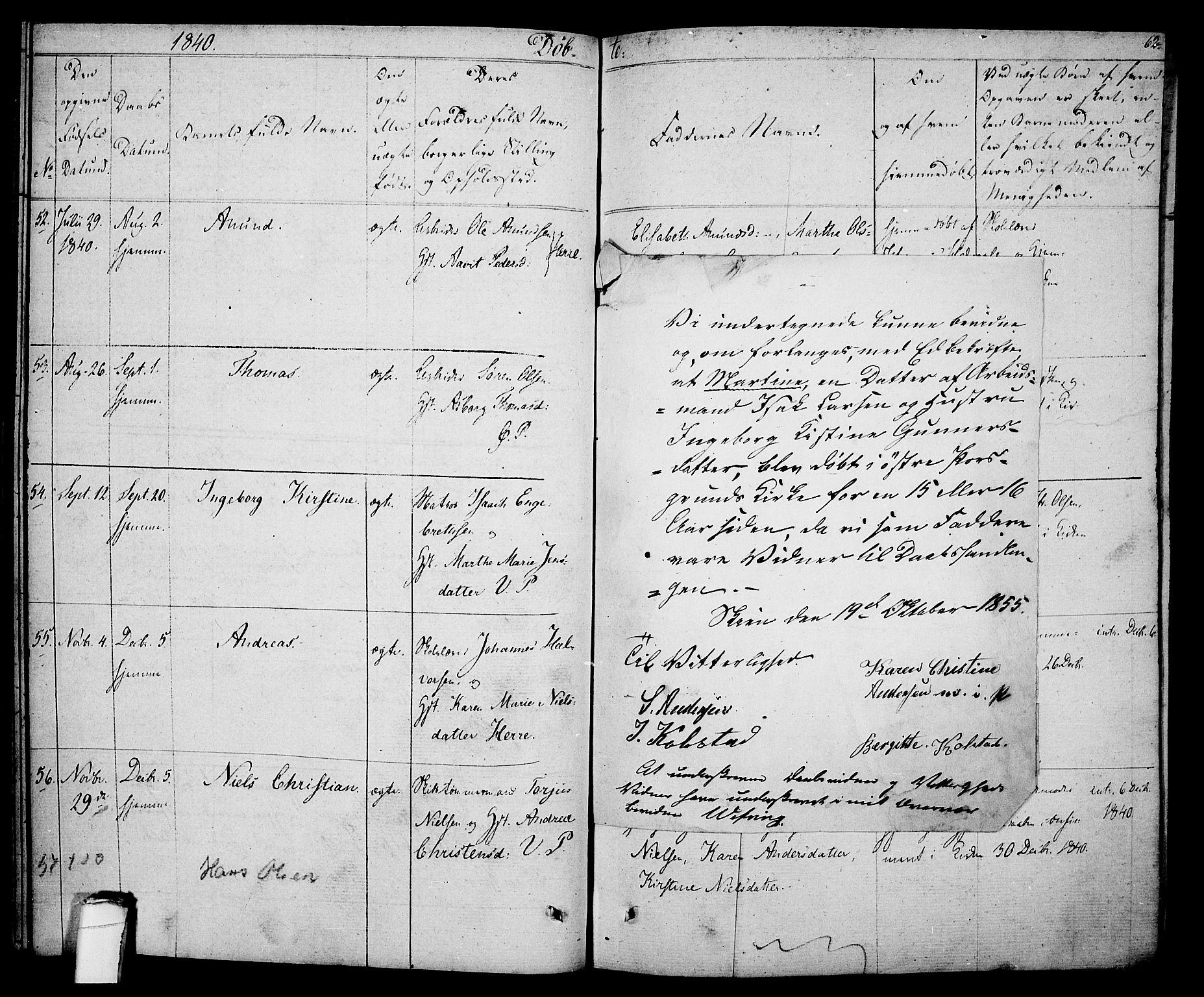 SAKO, Porsgrunn kirkebøker , F/Fa/L0005: Ministerialbok nr. 5, 1828-1840, s. 62