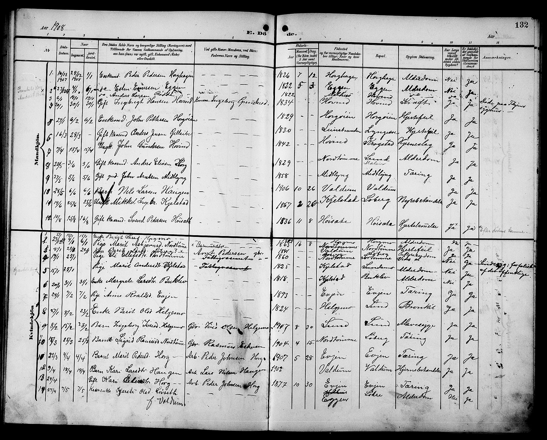 SAT, Ministerialprotokoller, klokkerbøker og fødselsregistre - Sør-Trøndelag, 692/L1112: Klokkerbok nr. 692C07, 1904-1918, s. 132
