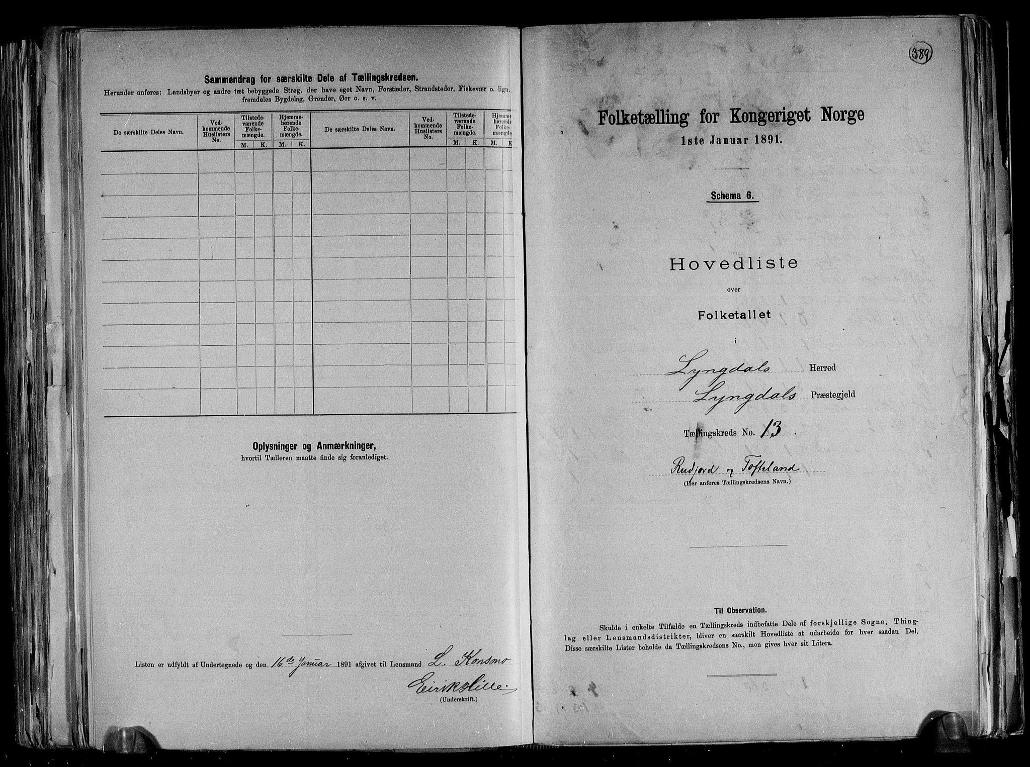 RA, Folketelling 1891 for 1032 Lyngdal herred, 1891, s. 31
