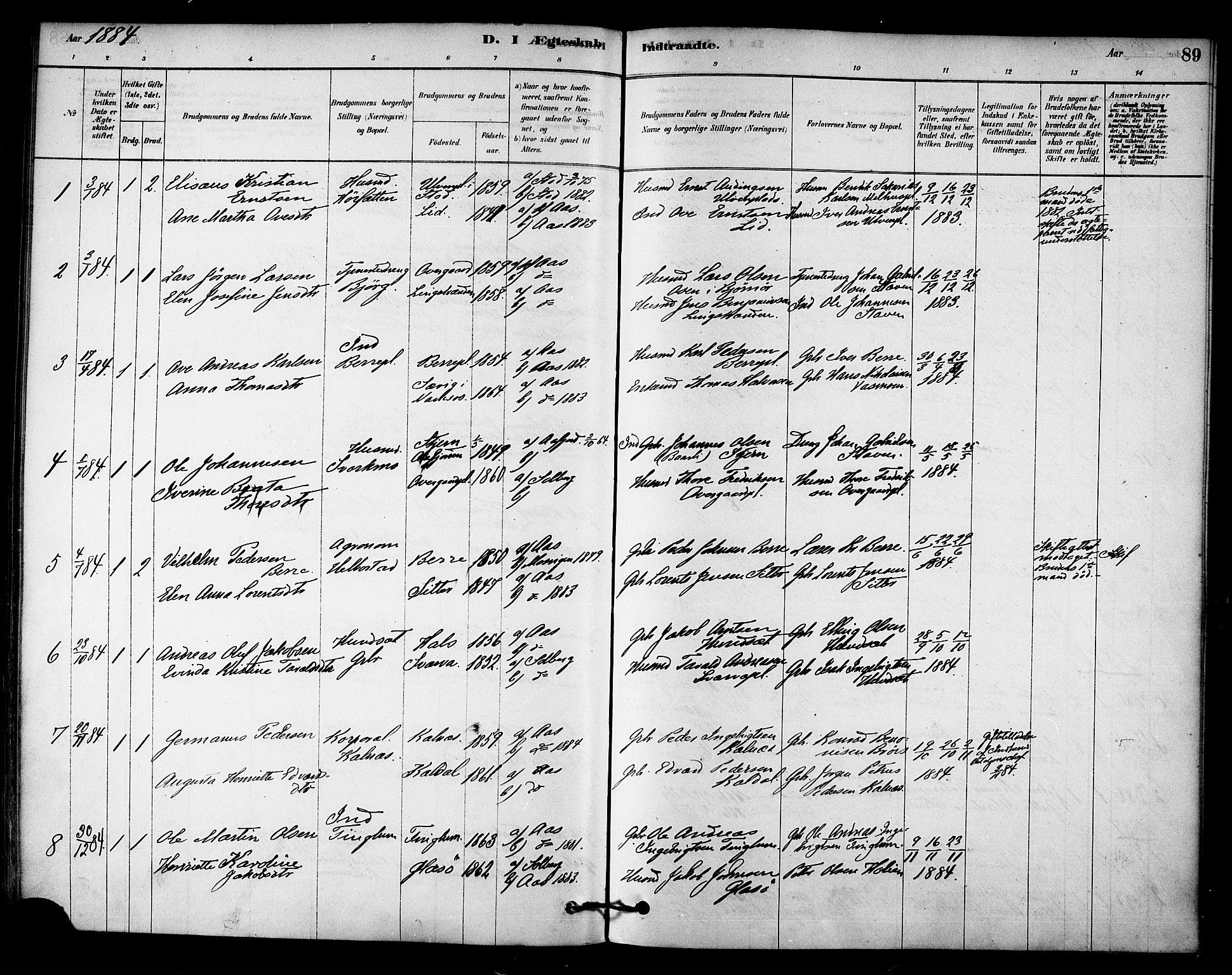 SAT, Ministerialprotokoller, klokkerbøker og fødselsregistre - Nord-Trøndelag, 742/L0408: Ministerialbok nr. 742A01, 1878-1890, s. 89