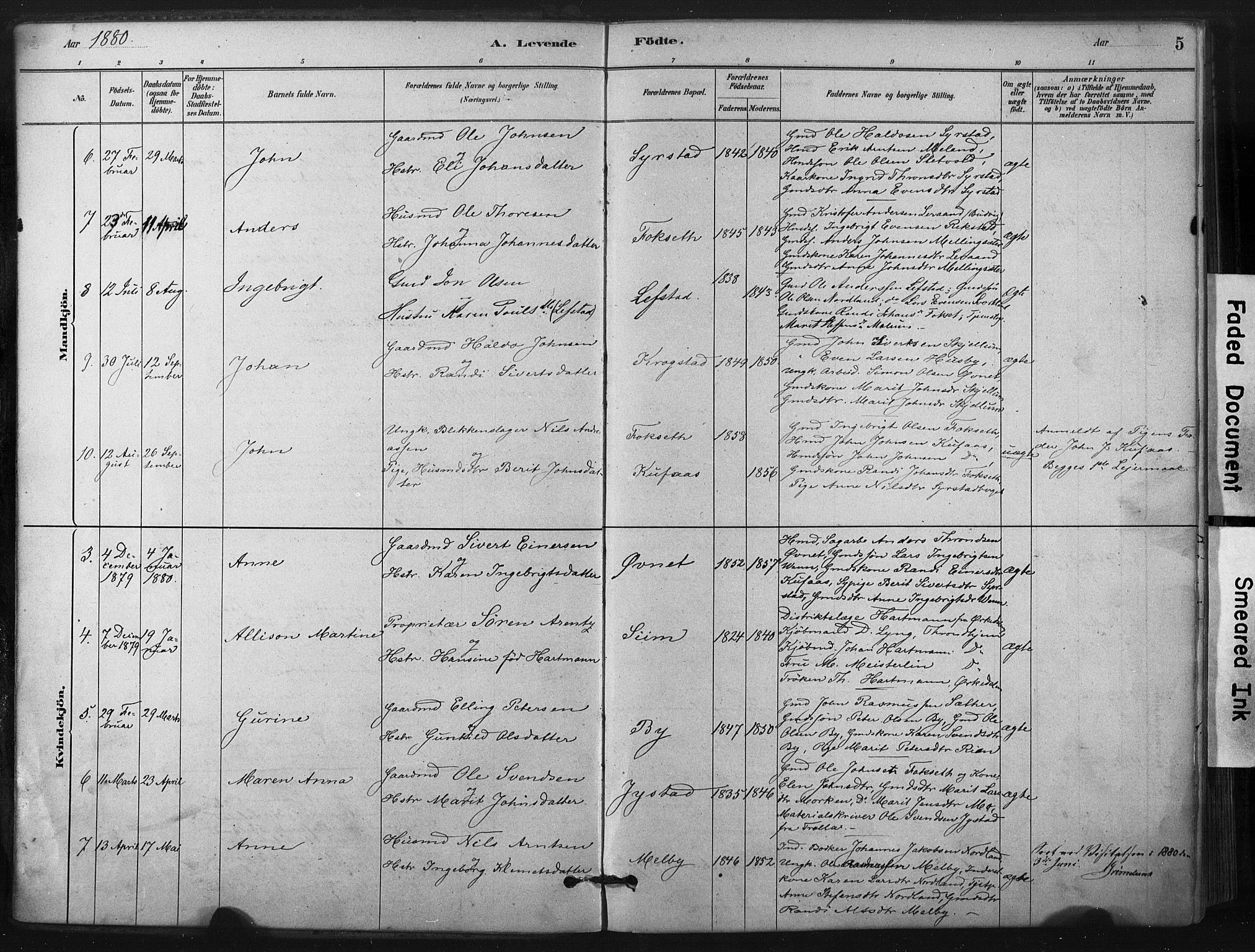 SAT, Ministerialprotokoller, klokkerbøker og fødselsregistre - Sør-Trøndelag, 667/L0795: Ministerialbok nr. 667A03, 1879-1907, s. 5