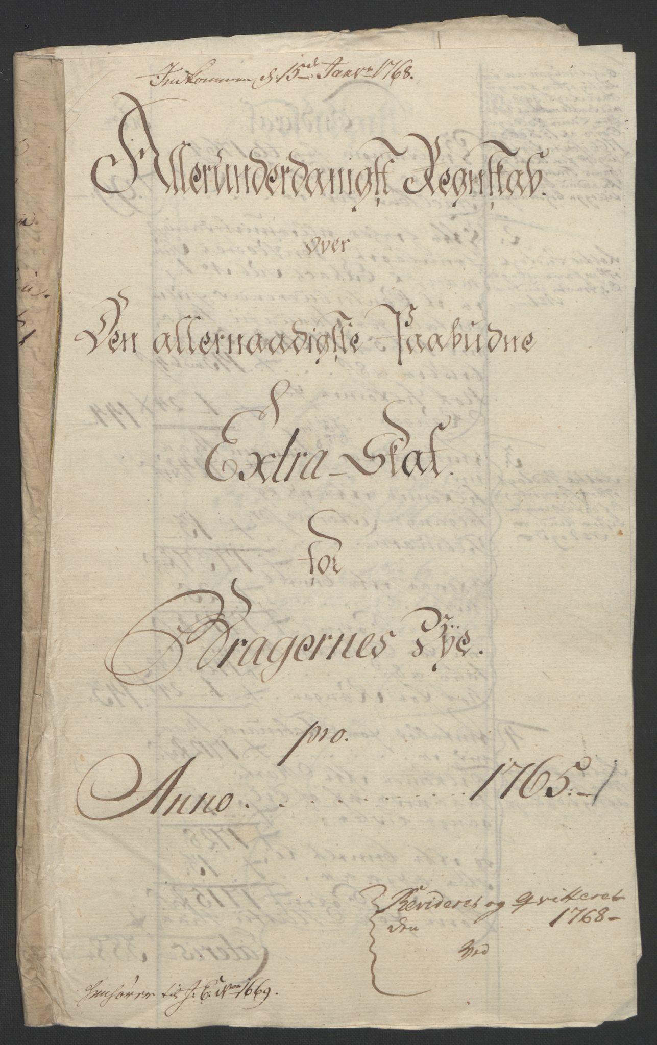 RA, Rentekammeret inntil 1814, Reviderte regnskaper, Byregnskaper, R/Rf/L0119: [F2] Kontribusjonsregnskap, 1762-1767, s. 263