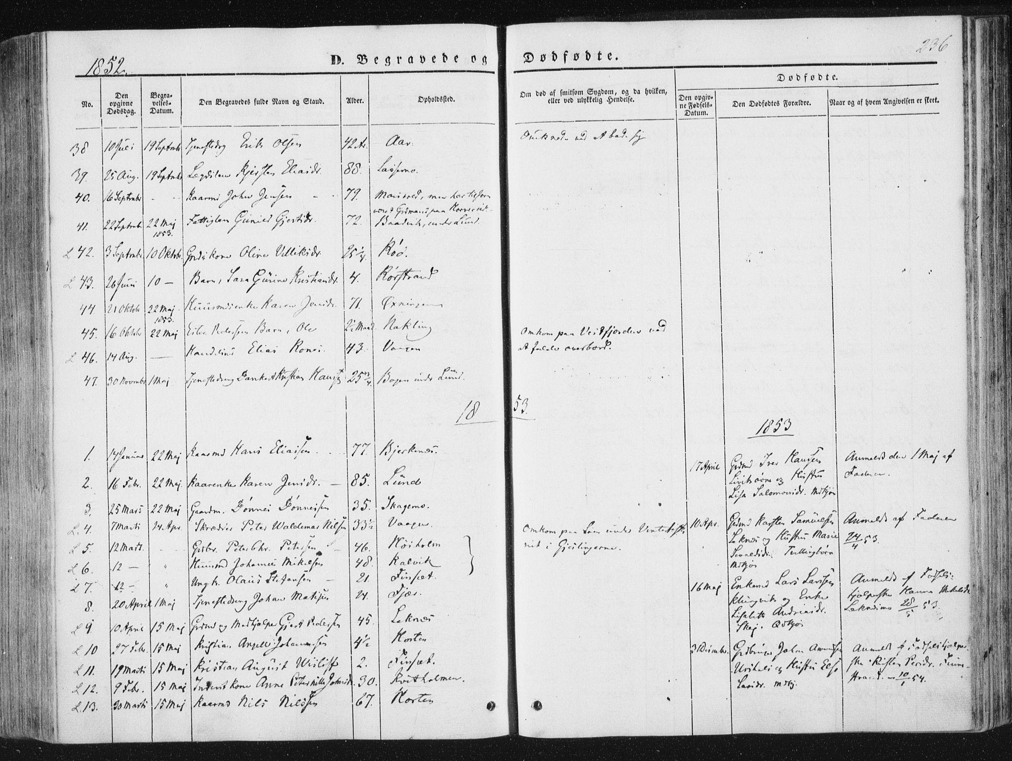 SAT, Ministerialprotokoller, klokkerbøker og fødselsregistre - Nord-Trøndelag, 780/L0640: Ministerialbok nr. 780A05, 1845-1856, s. 236