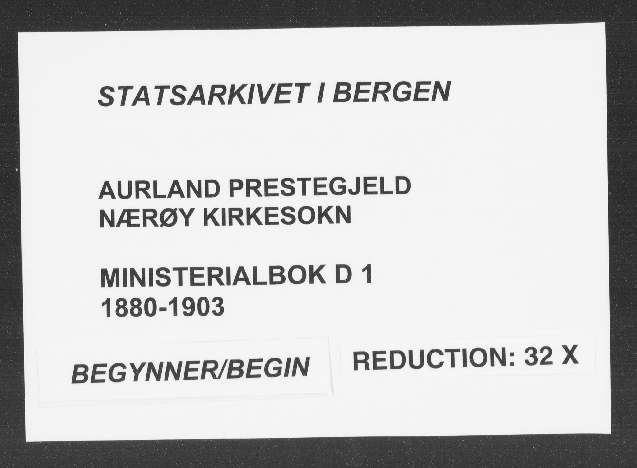 SAB, Aurland sokneprestembete, H/Ha/Had/L0001: Ministerialbok nr. D  1, 1880-1903
