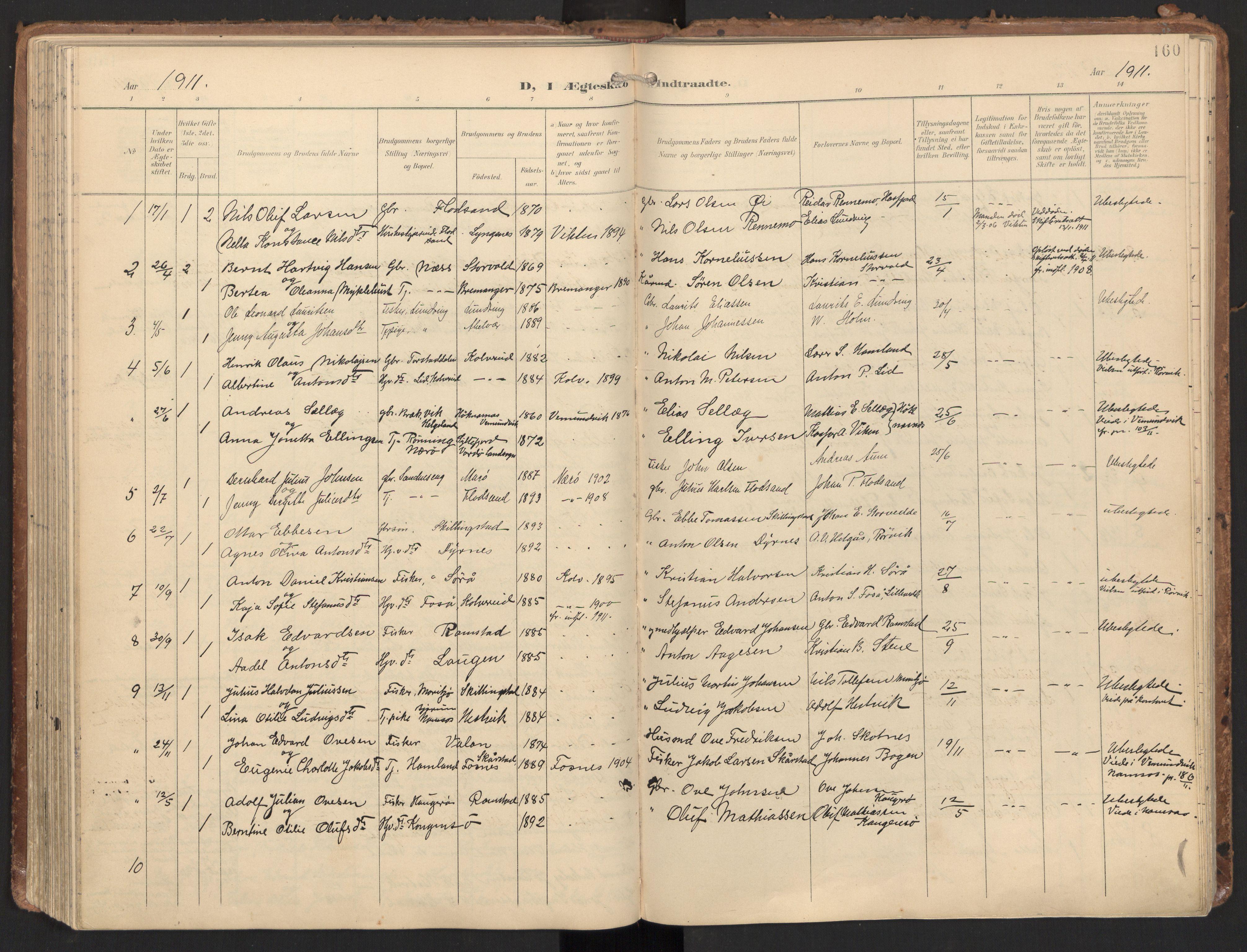 SAT, Ministerialprotokoller, klokkerbøker og fødselsregistre - Nord-Trøndelag, 784/L0677: Ministerialbok nr. 784A12, 1900-1920, s. 160