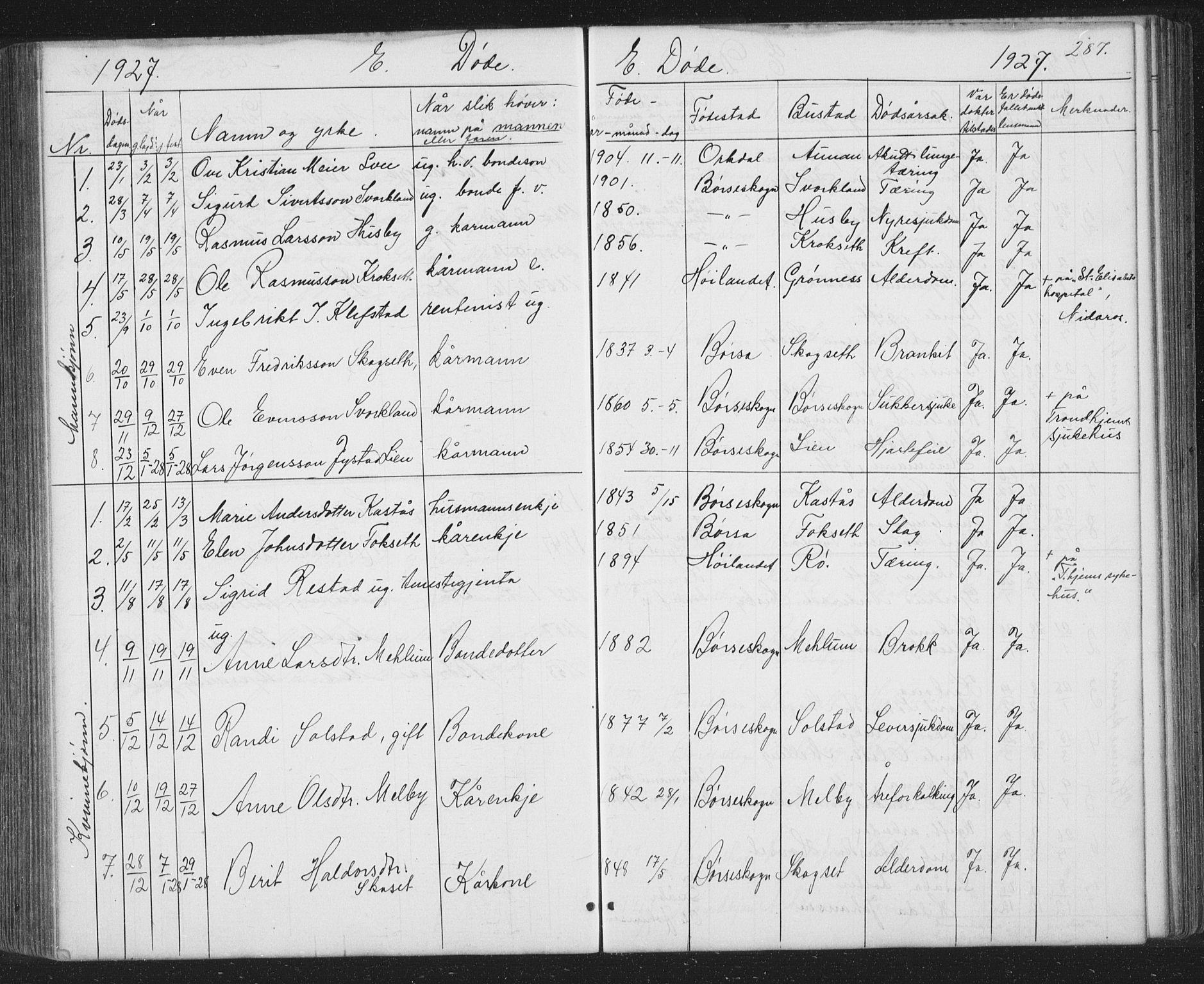 SAT, Ministerialprotokoller, klokkerbøker og fødselsregistre - Sør-Trøndelag, 667/L0798: Klokkerbok nr. 667C03, 1867-1929, s. 287