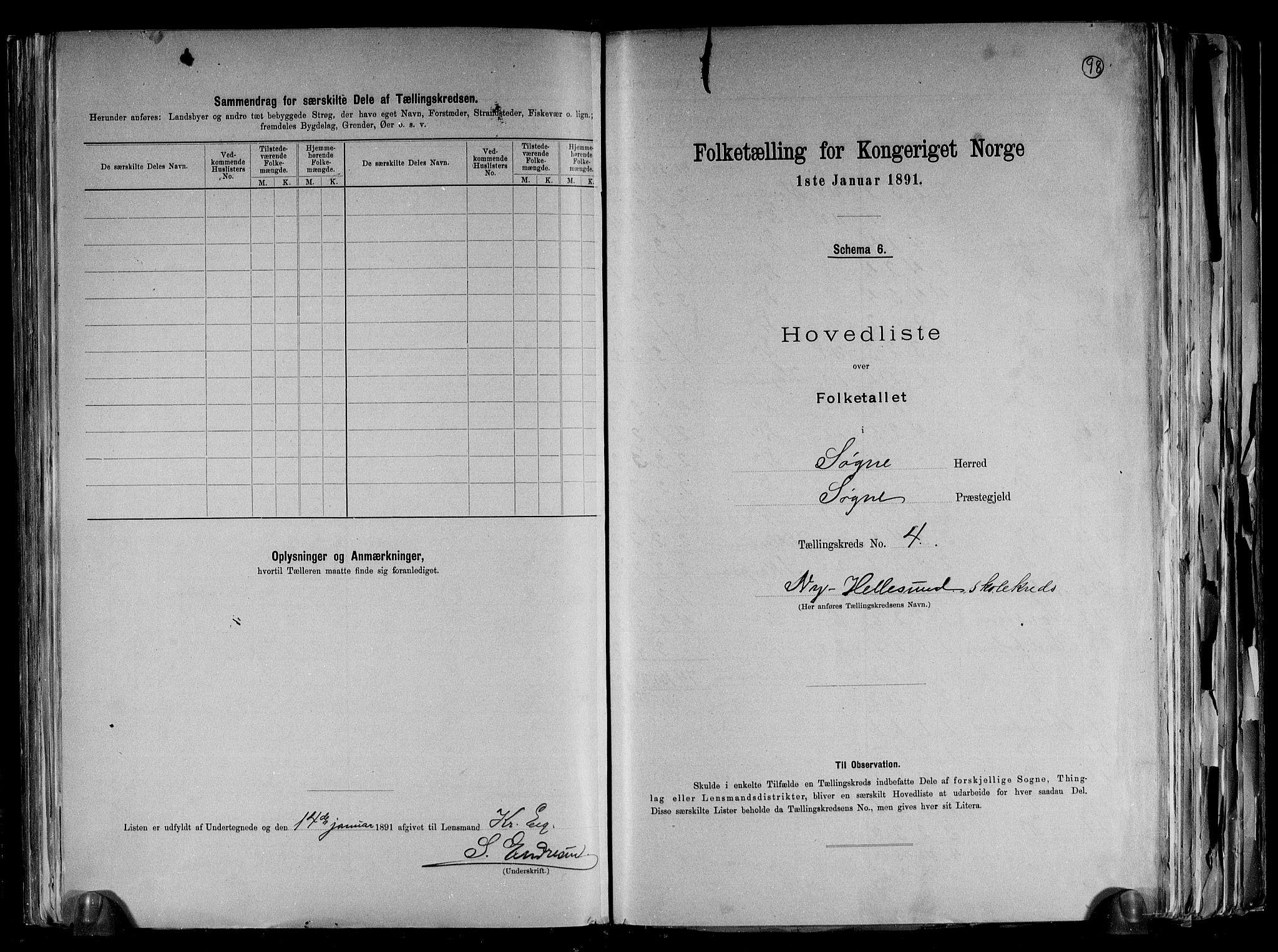 RA, Folketelling 1891 for 1018 Søgne herred, 1891, s. 13