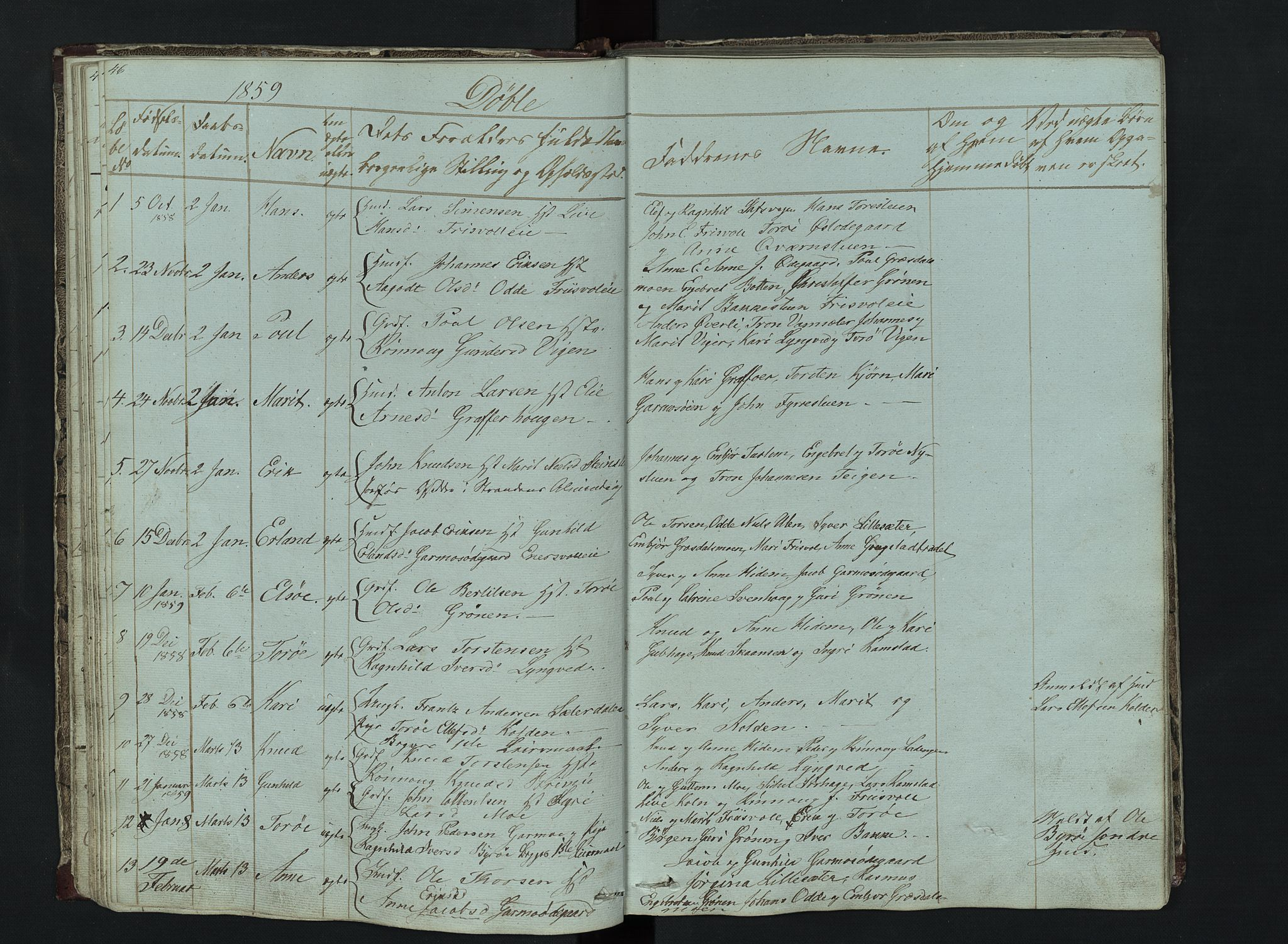 SAH, Lom prestekontor, L/L0014: Klokkerbok nr. 14, 1845-1876, s. 46-47