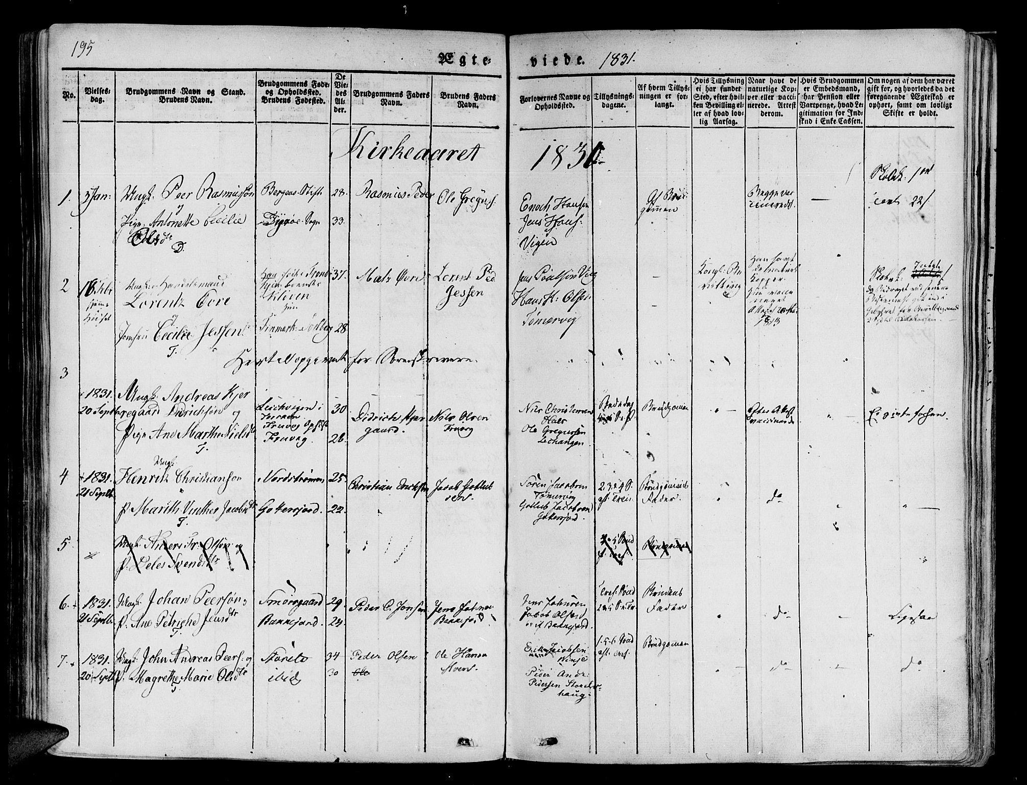 SATØ, Tranøy sokneprestkontor, I/Ia/Iaa/L0005kirke: Ministerialbok nr. 5, 1829-1844, s. 195