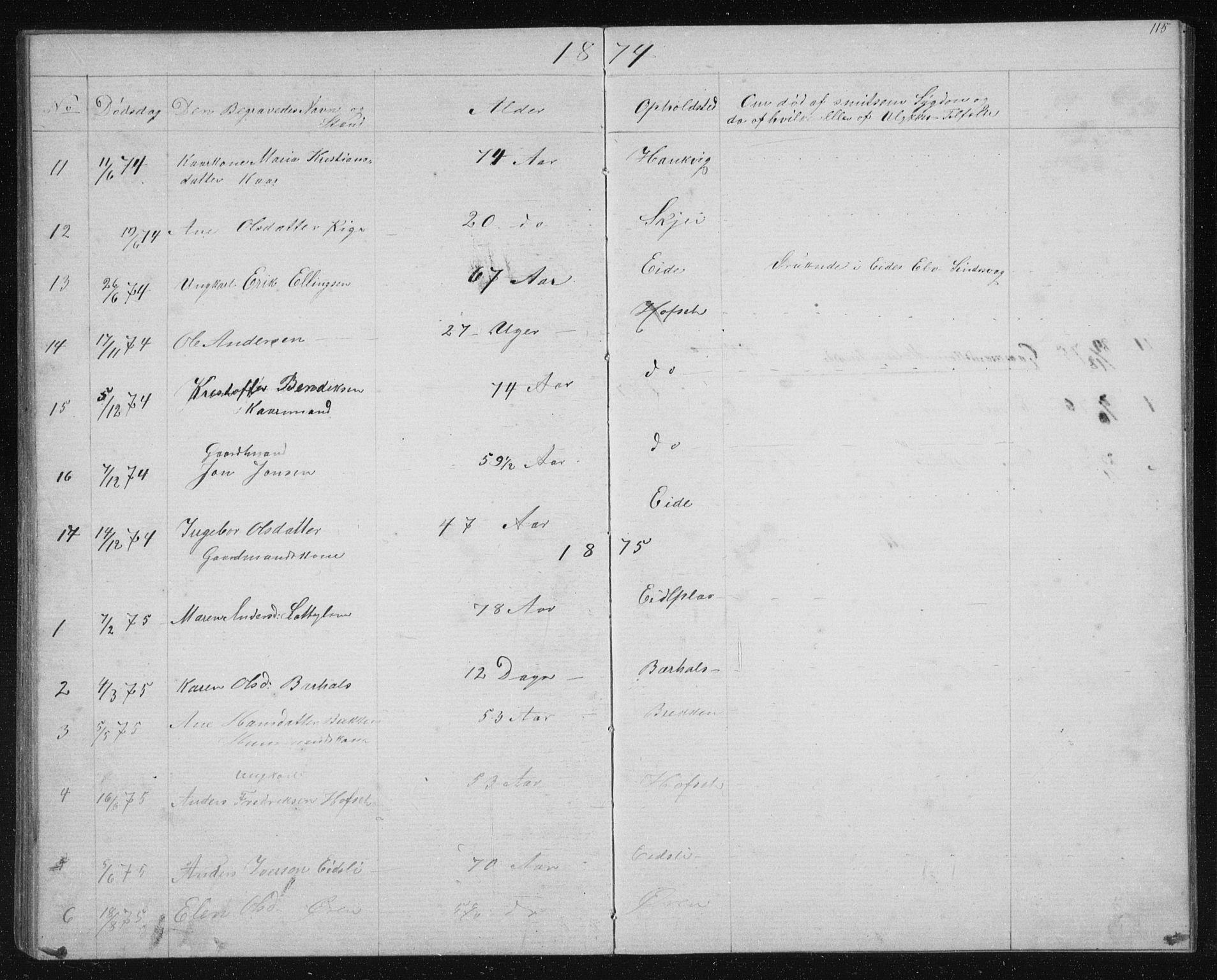 SAT, Ministerialprotokoller, klokkerbøker og fødselsregistre - Sør-Trøndelag, 631/L0513: Klokkerbok nr. 631C01, 1869-1879, s. 115