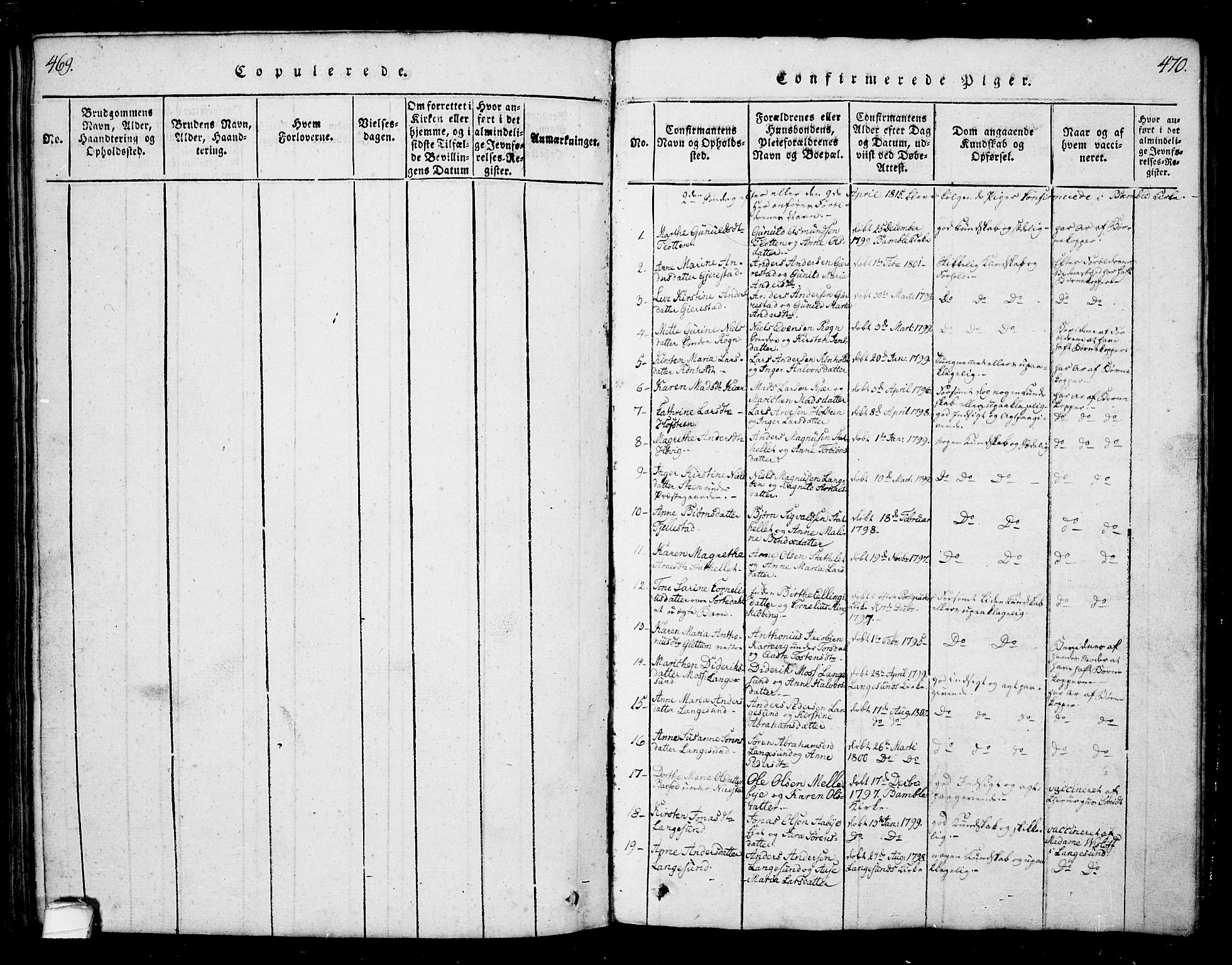 SAKO, Bamble kirkebøker, G/Ga/L0005: Klokkerbok nr. I 5, 1814-1855, s. 469-470