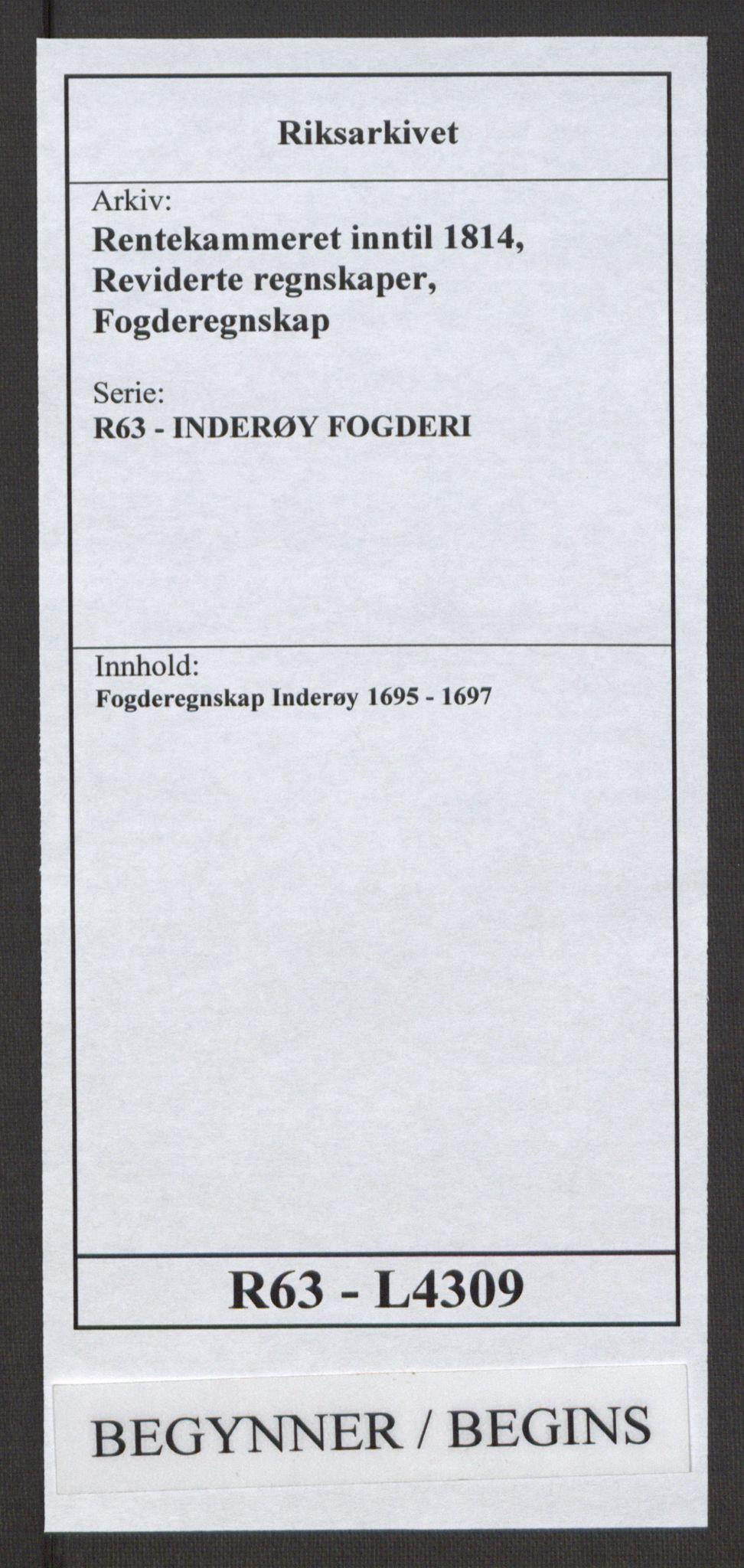 RA, Rentekammeret inntil 1814, Reviderte regnskaper, Fogderegnskap, R63/L4309: Fogderegnskap Inderøy, 1695-1697, s. 1