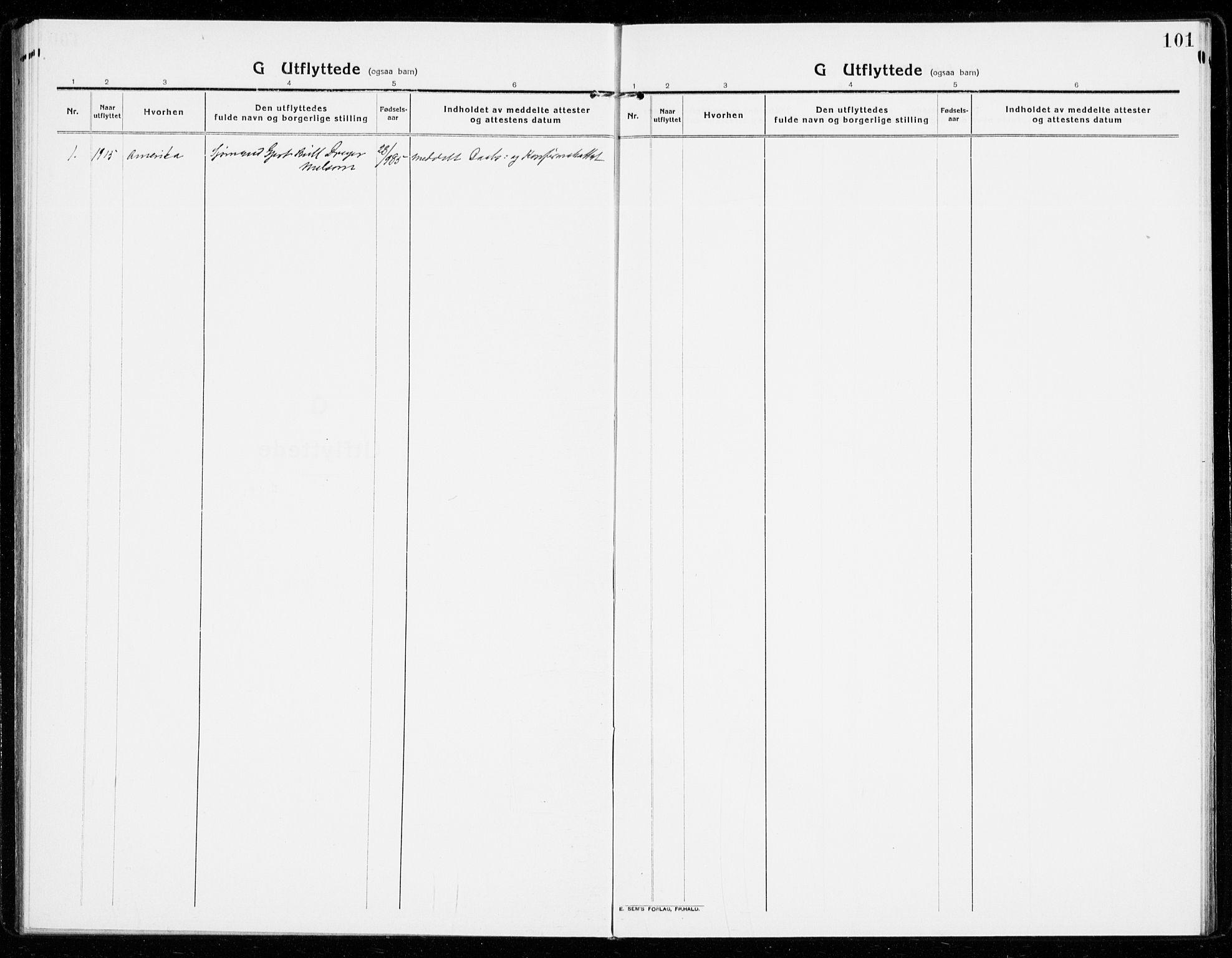 SAKO, Sandar kirkebøker, F/Fa/L0020: Ministerialbok nr. 20, 1915-1919, s. 101