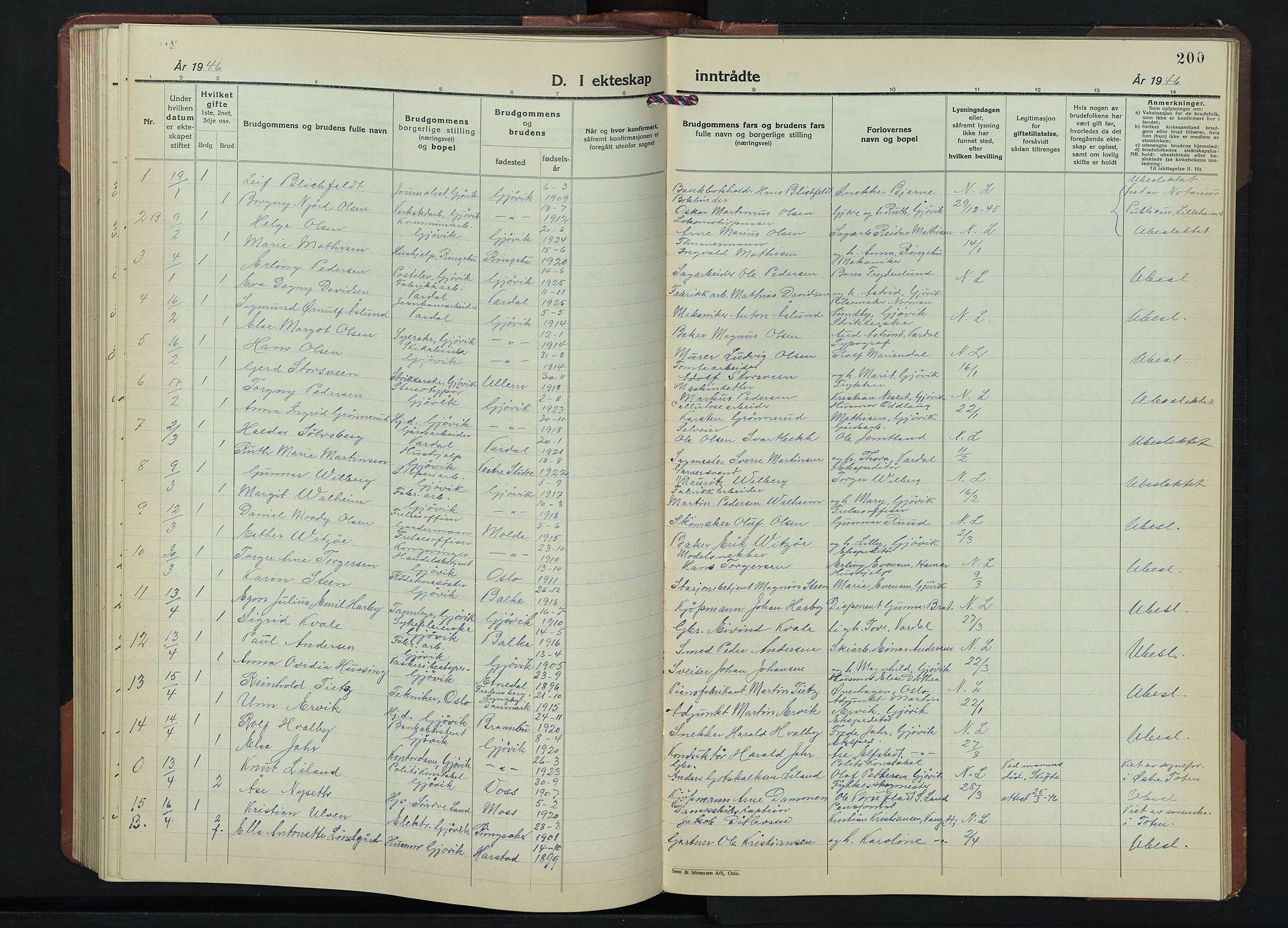 SAH, Gjøvik prestekontor, Klokkerbok nr. 1, 1941-1951, s. 200