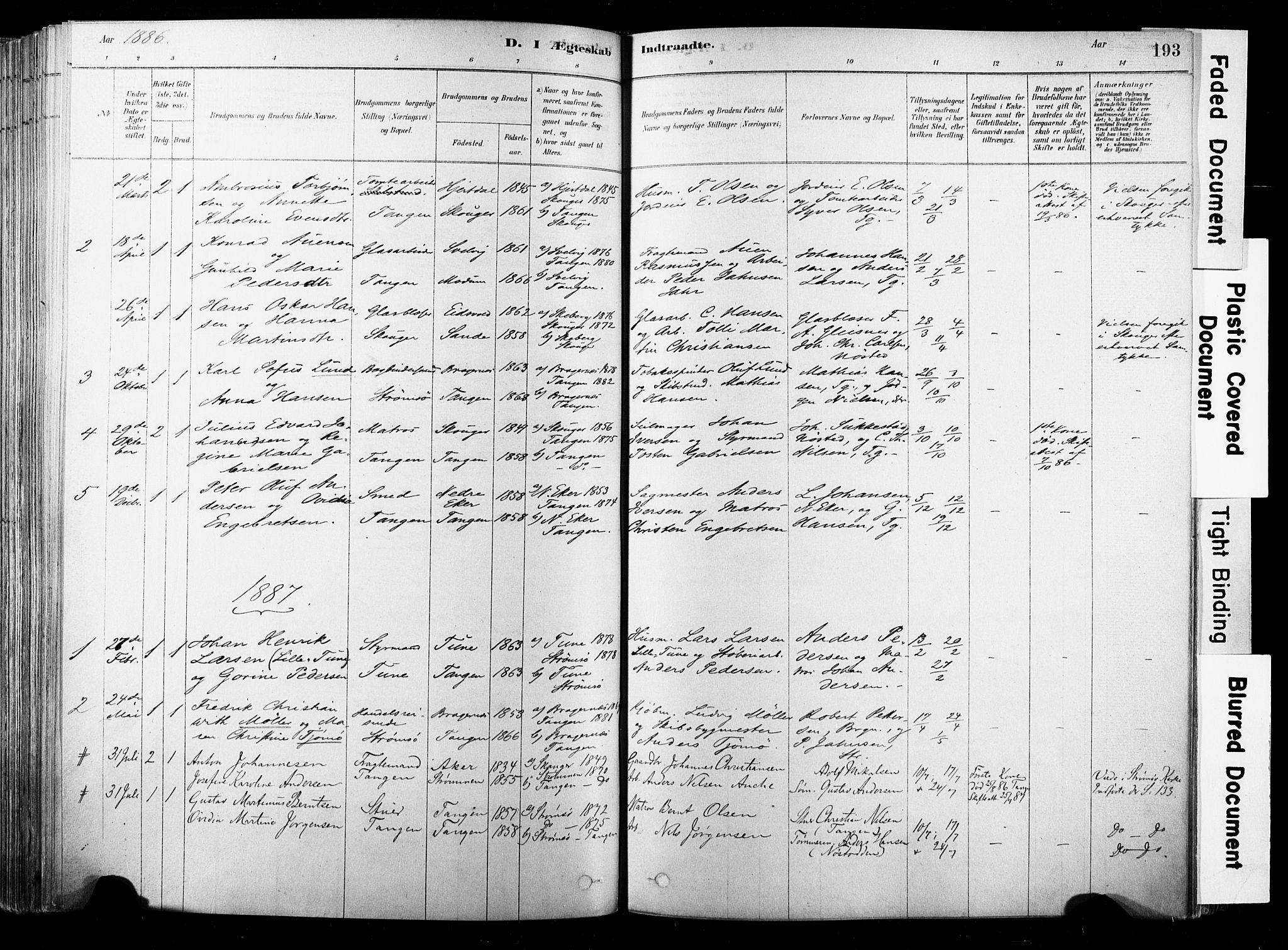 SAKO, Strømsø kirkebøker, F/Fb/L0006: Ministerialbok nr. II 6, 1879-1910, s. 193