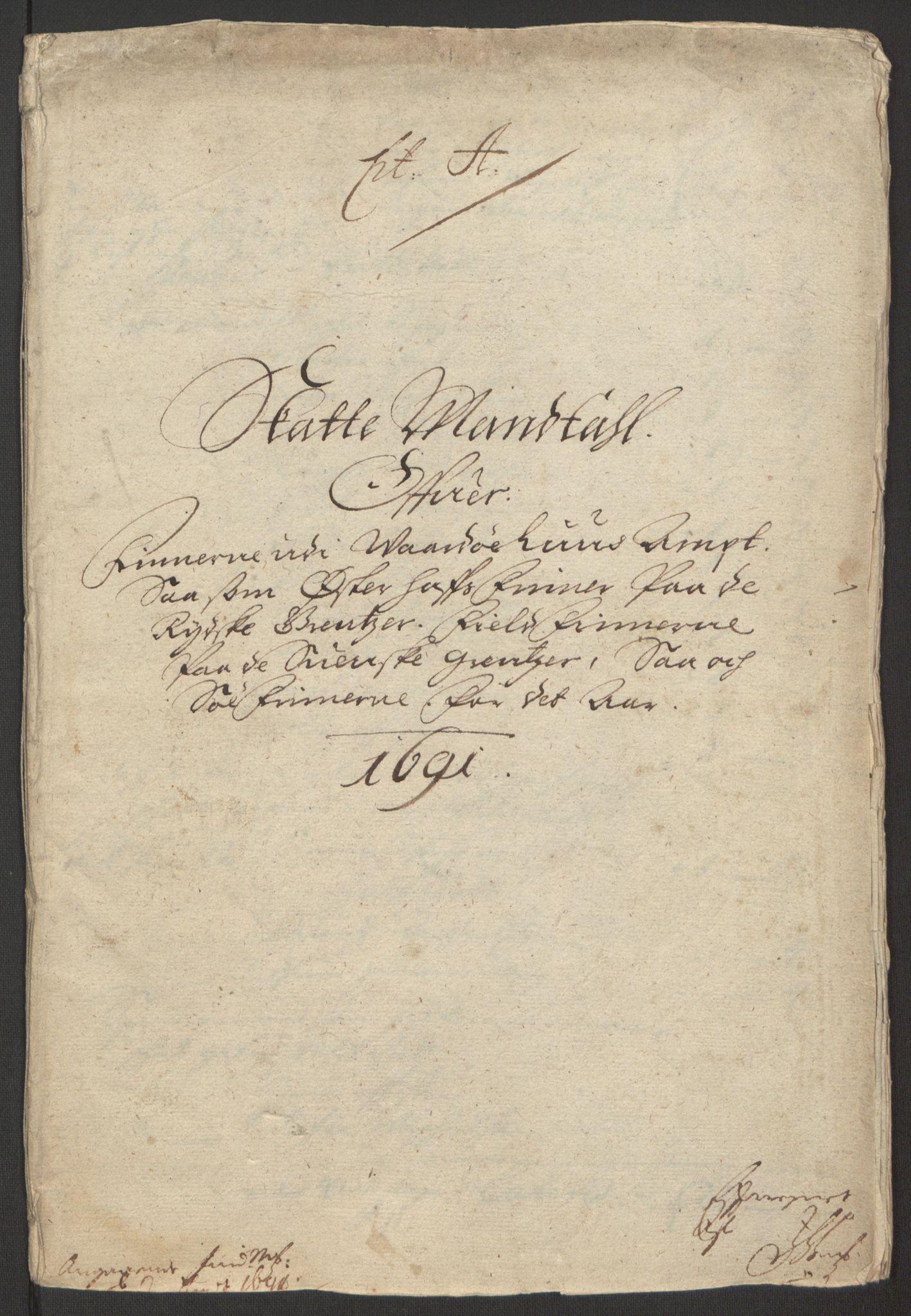 RA, Rentekammeret inntil 1814, Reviderte regnskaper, Fogderegnskap, R69/L4851: Fogderegnskap Finnmark/Vardøhus, 1691-1700, s. 7