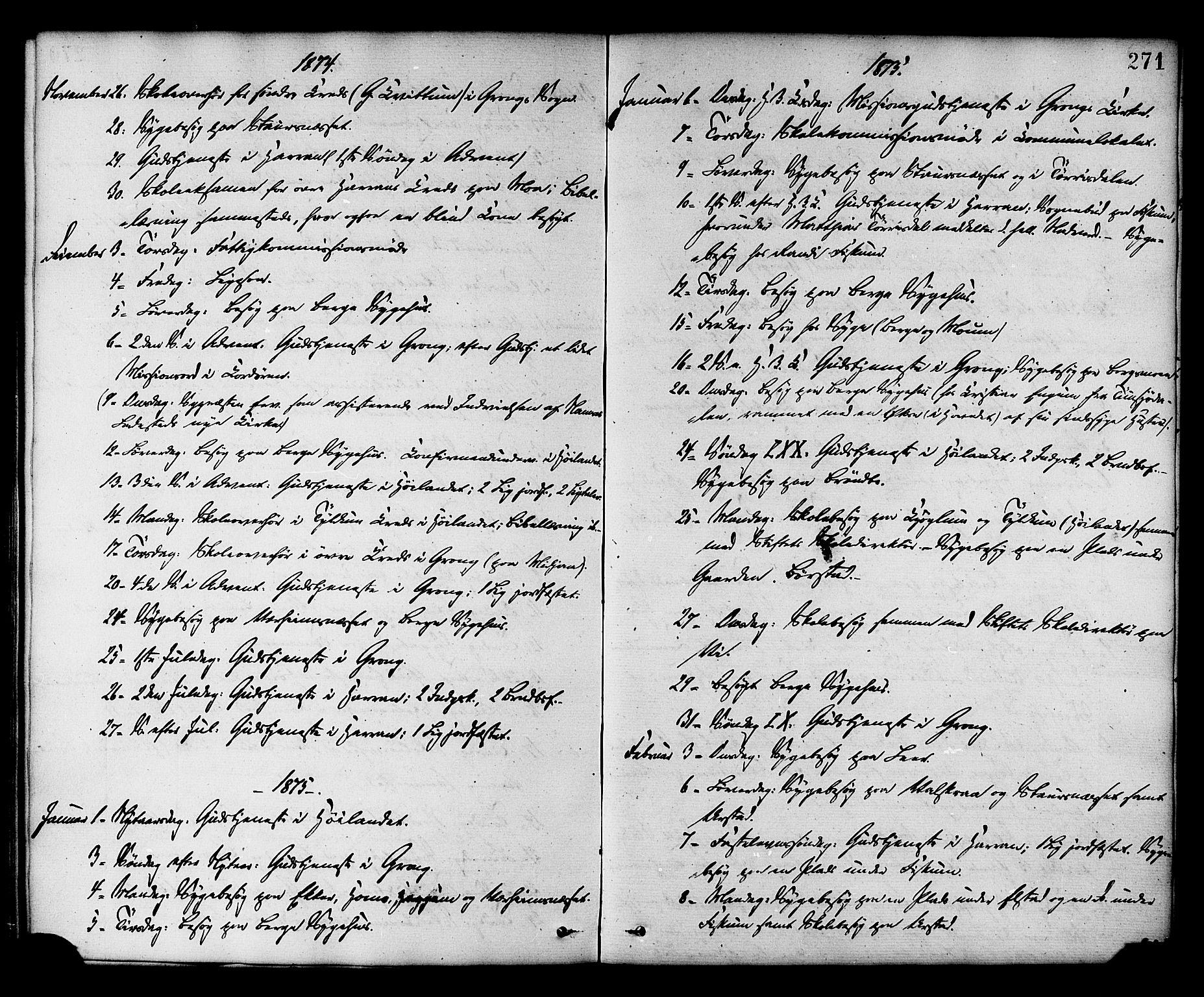 SAT, Ministerialprotokoller, klokkerbøker og fødselsregistre - Nord-Trøndelag, 758/L0516: Ministerialbok nr. 758A03 /1, 1869-1879, s. 271