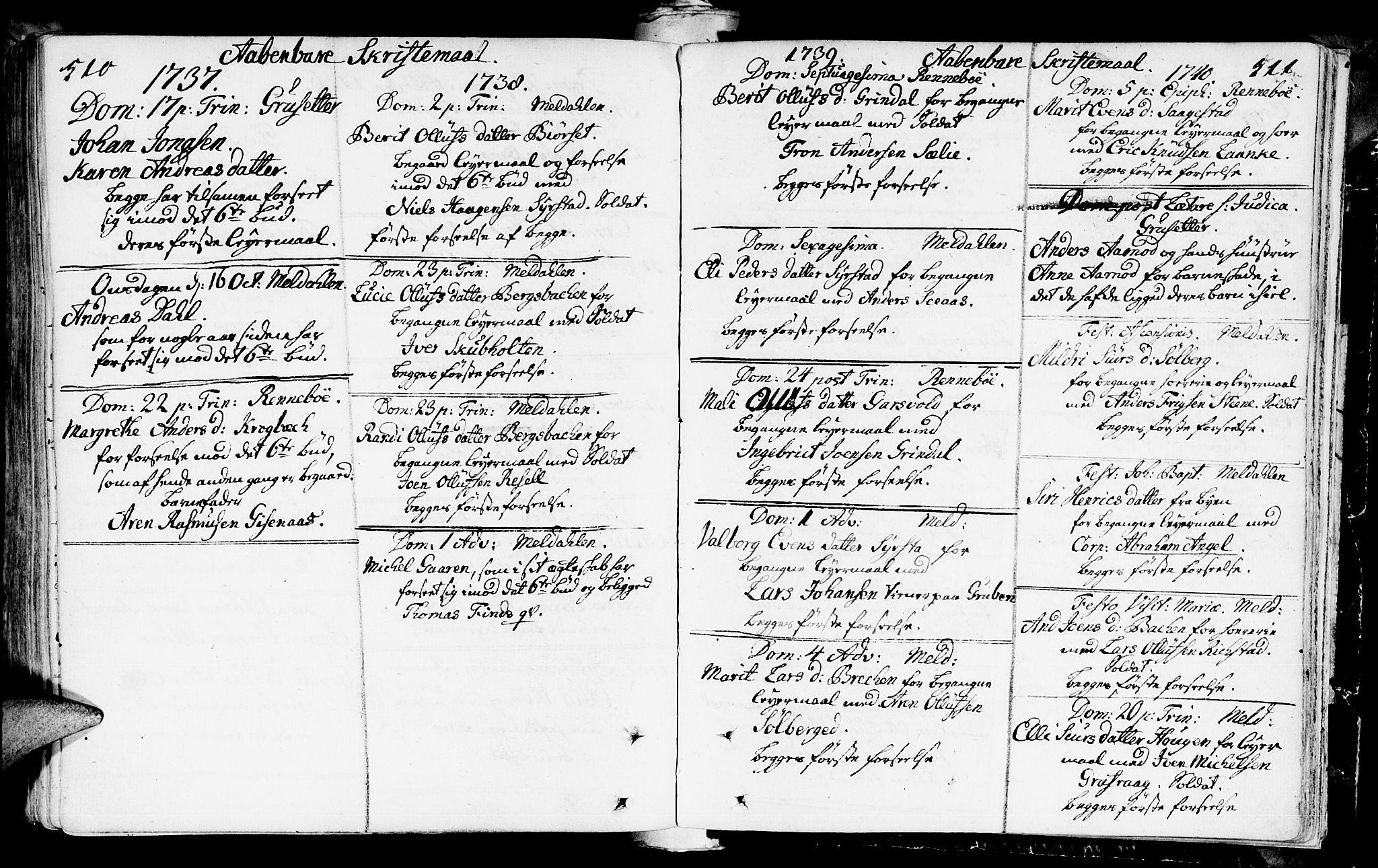 SAT, Ministerialprotokoller, klokkerbøker og fødselsregistre - Sør-Trøndelag, 672/L0850: Ministerialbok nr. 672A03, 1725-1751, s. 510-511