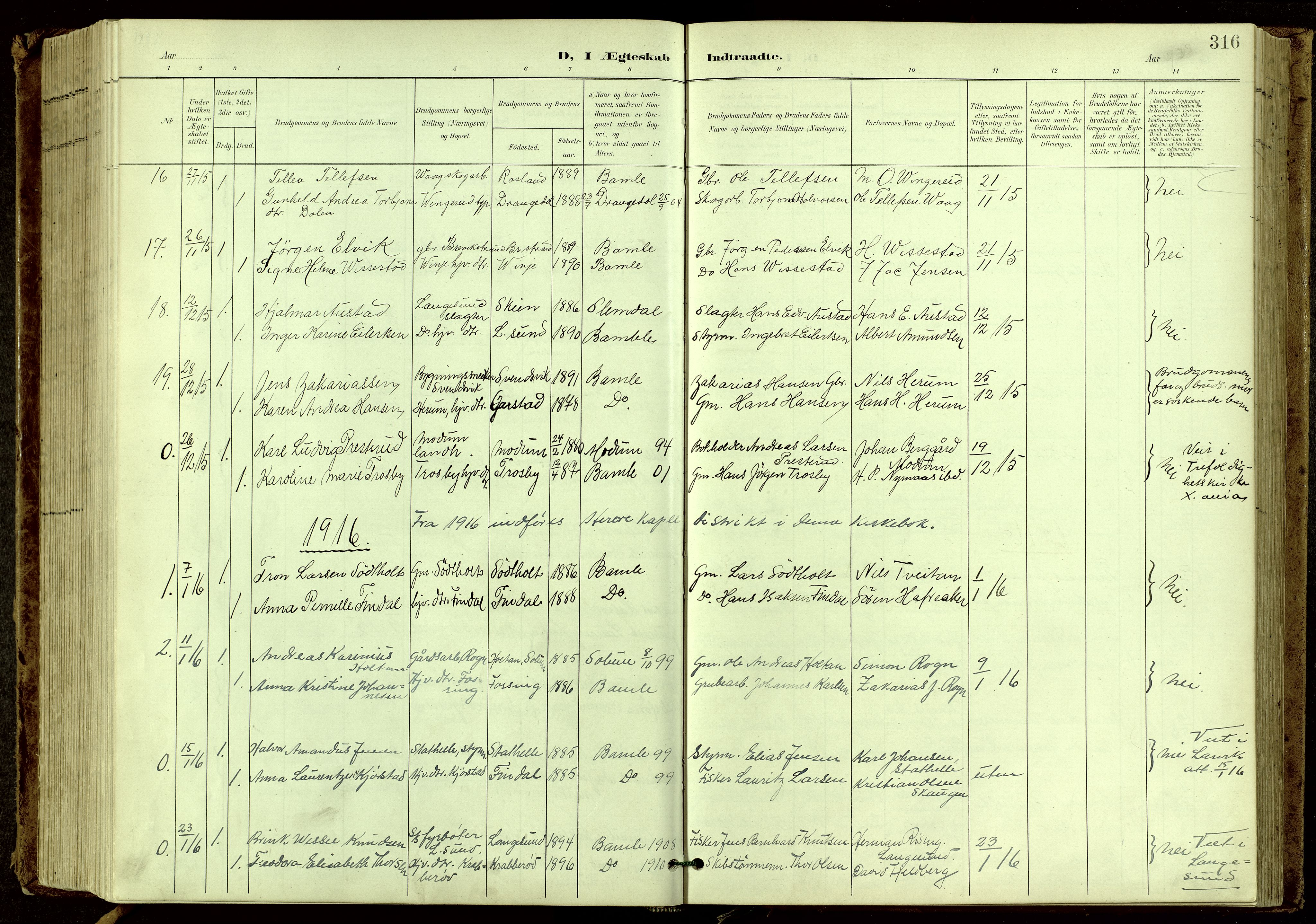 SAKO, Bamble kirkebøker, G/Ga/L0010: Klokkerbok nr. I 10, 1901-1919, s. 316