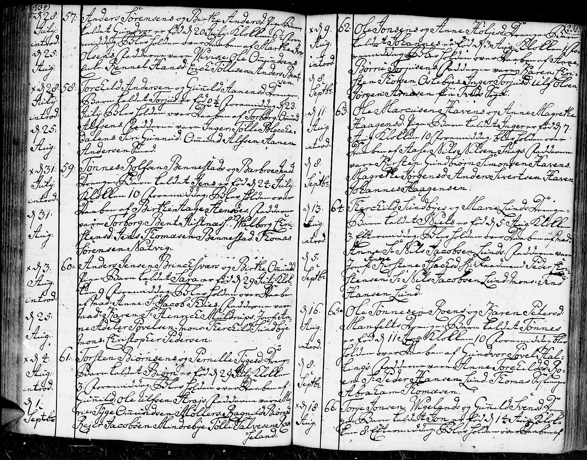 SAK, Kristiansand domprosti, F/Fa/L0002: Ministerialbok nr. A 2, 1755-1778, s. 234-235