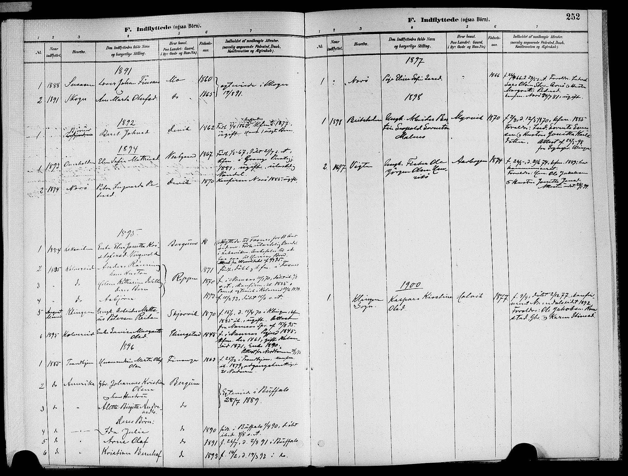 SAT, Ministerialprotokoller, klokkerbøker og fødselsregistre - Nord-Trøndelag, 773/L0617: Ministerialbok nr. 773A08, 1887-1910, s. 252