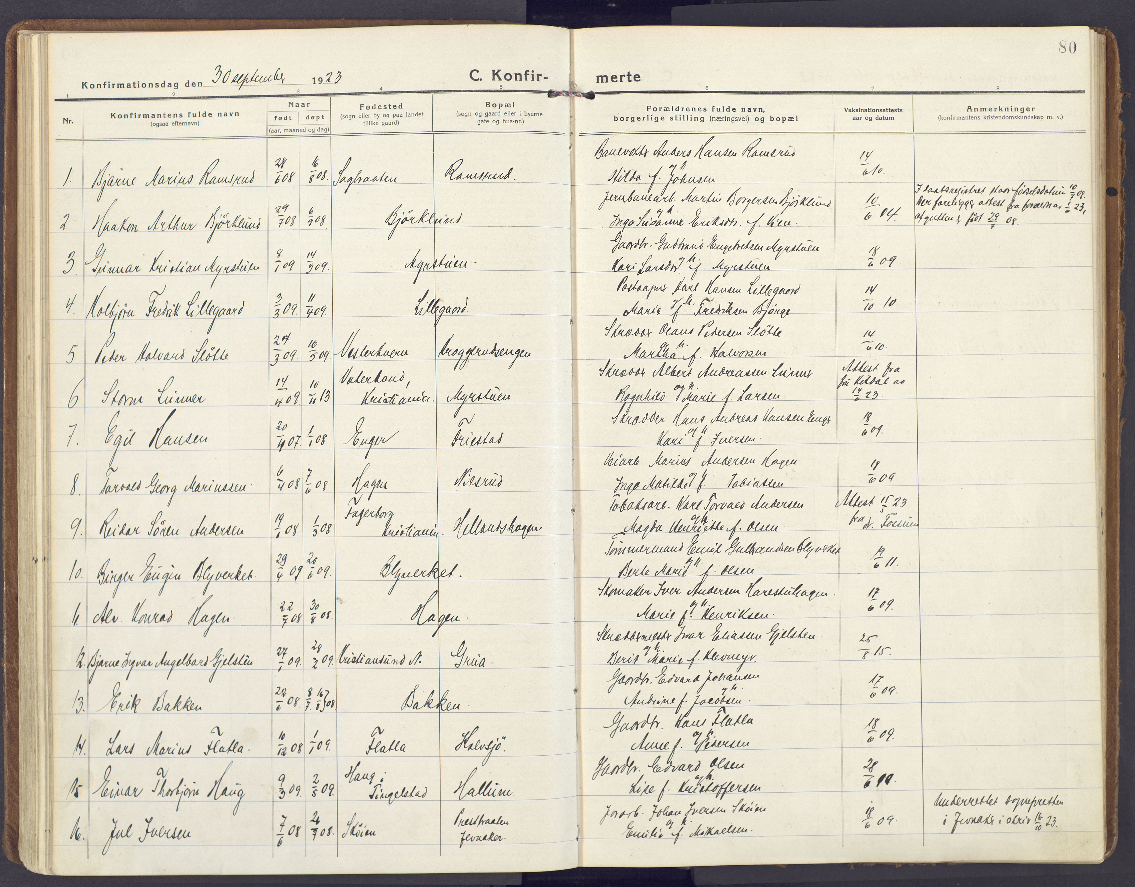 SAH, Lunner prestekontor, H/Ha/Haa/L0002: Ministerialbok nr. 2, 1922-1931, s. 80