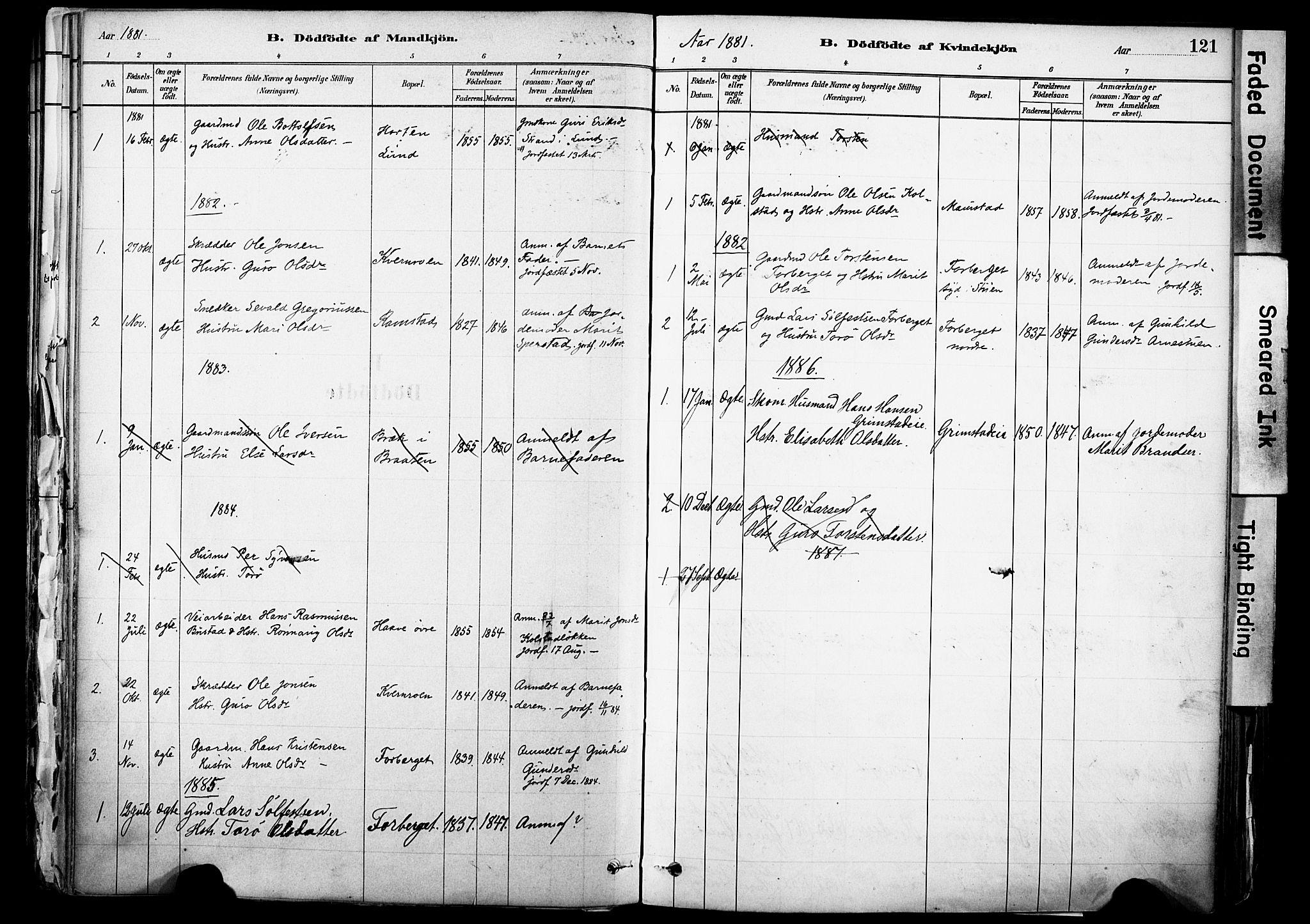 SAH, Skjåk prestekontor, Ministerialbok nr. 3, 1880-1907, s. 121
