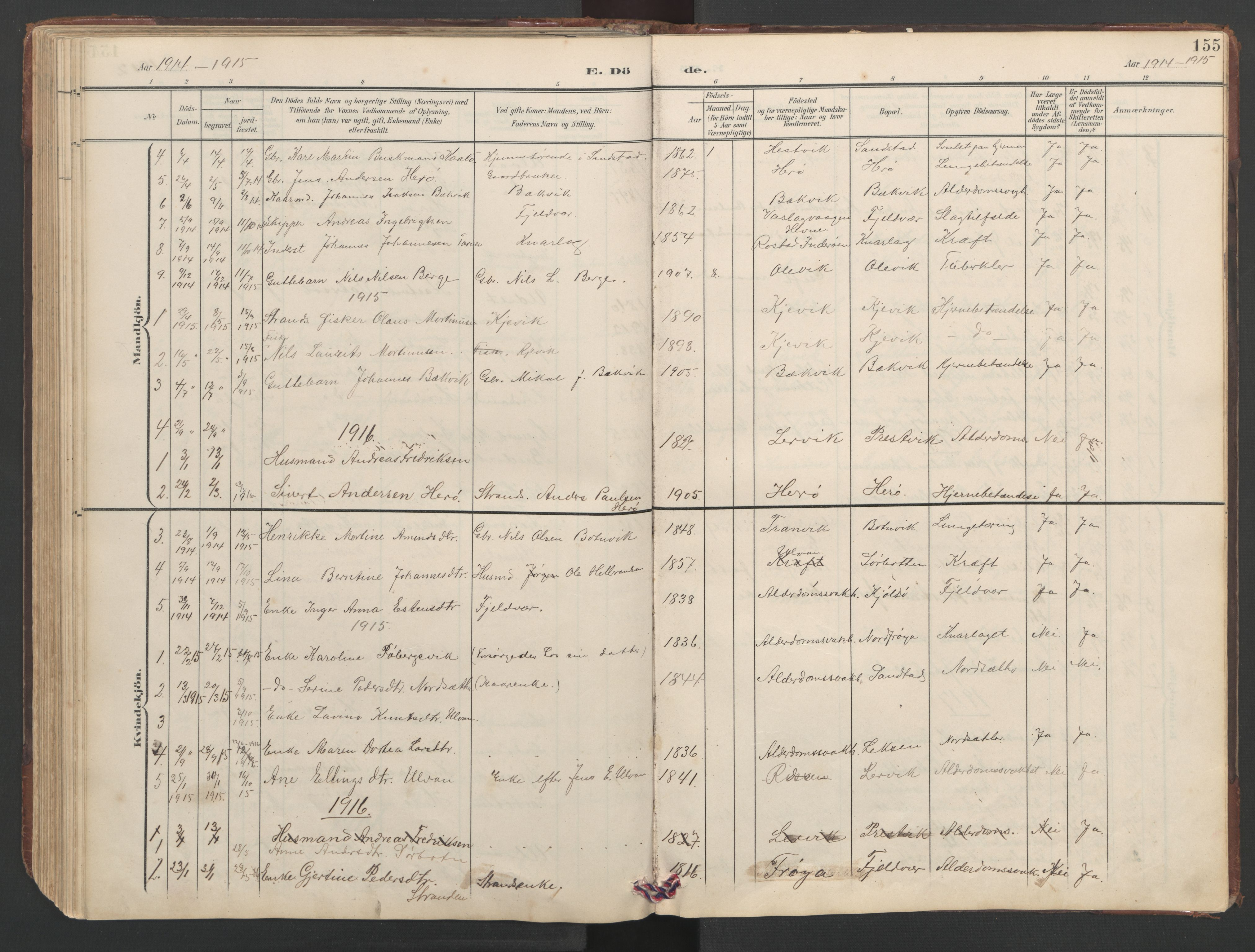 SAT, Ministerialprotokoller, klokkerbøker og fødselsregistre - Sør-Trøndelag, 638/L0571: Klokkerbok nr. 638C03, 1901-1930, s. 155