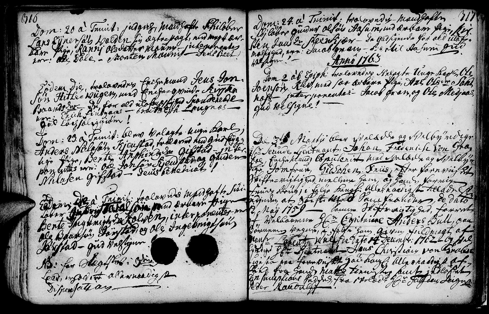 SAT, Ministerialprotokoller, klokkerbøker og fødselsregistre - Nord-Trøndelag, 749/L0467: Ministerialbok nr. 749A01, 1733-1787, s. 316-317