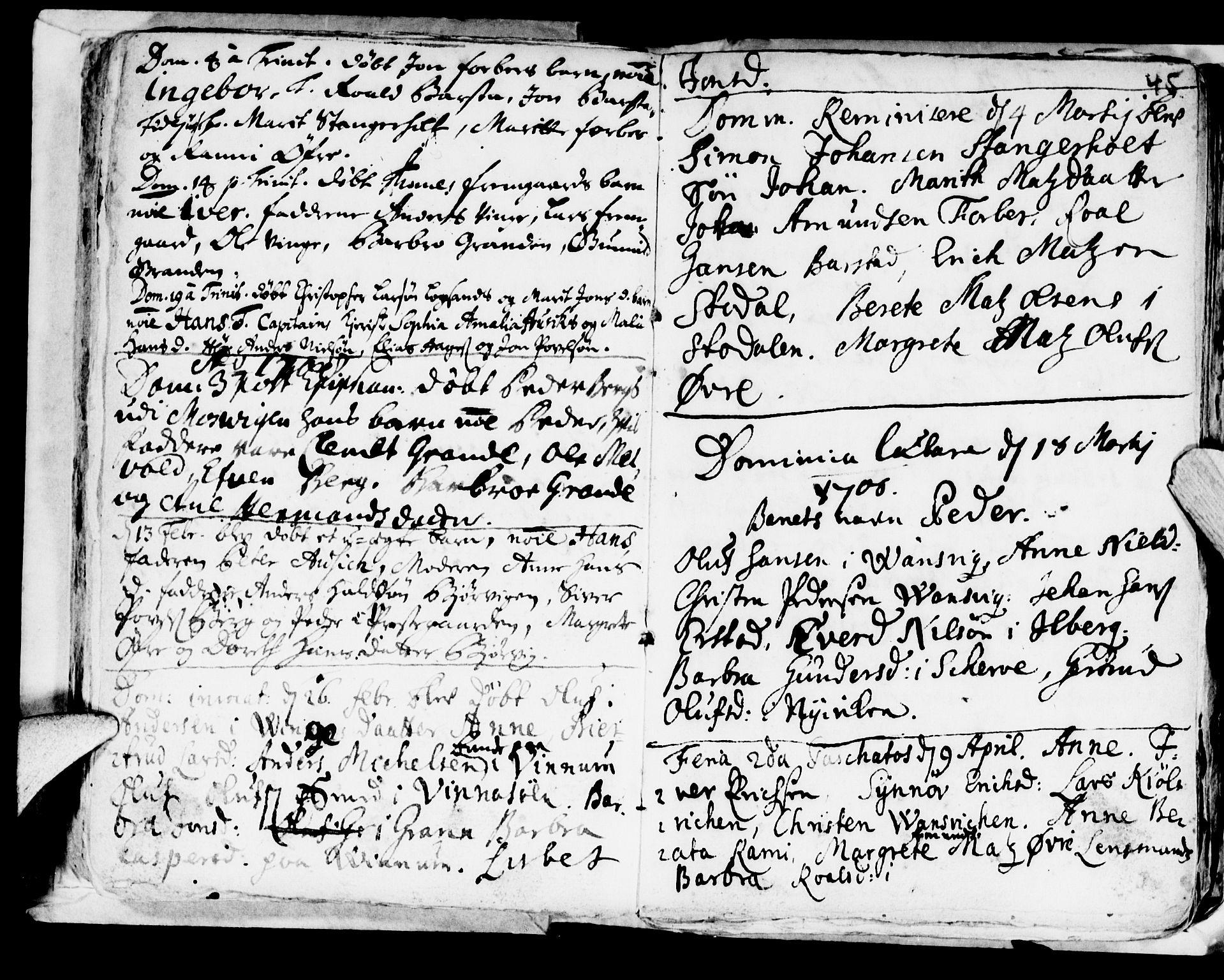 SAT, Ministerialprotokoller, klokkerbøker og fødselsregistre - Nord-Trøndelag, 722/L0214: Ministerialbok nr. 722A01, 1692-1718, s. 45