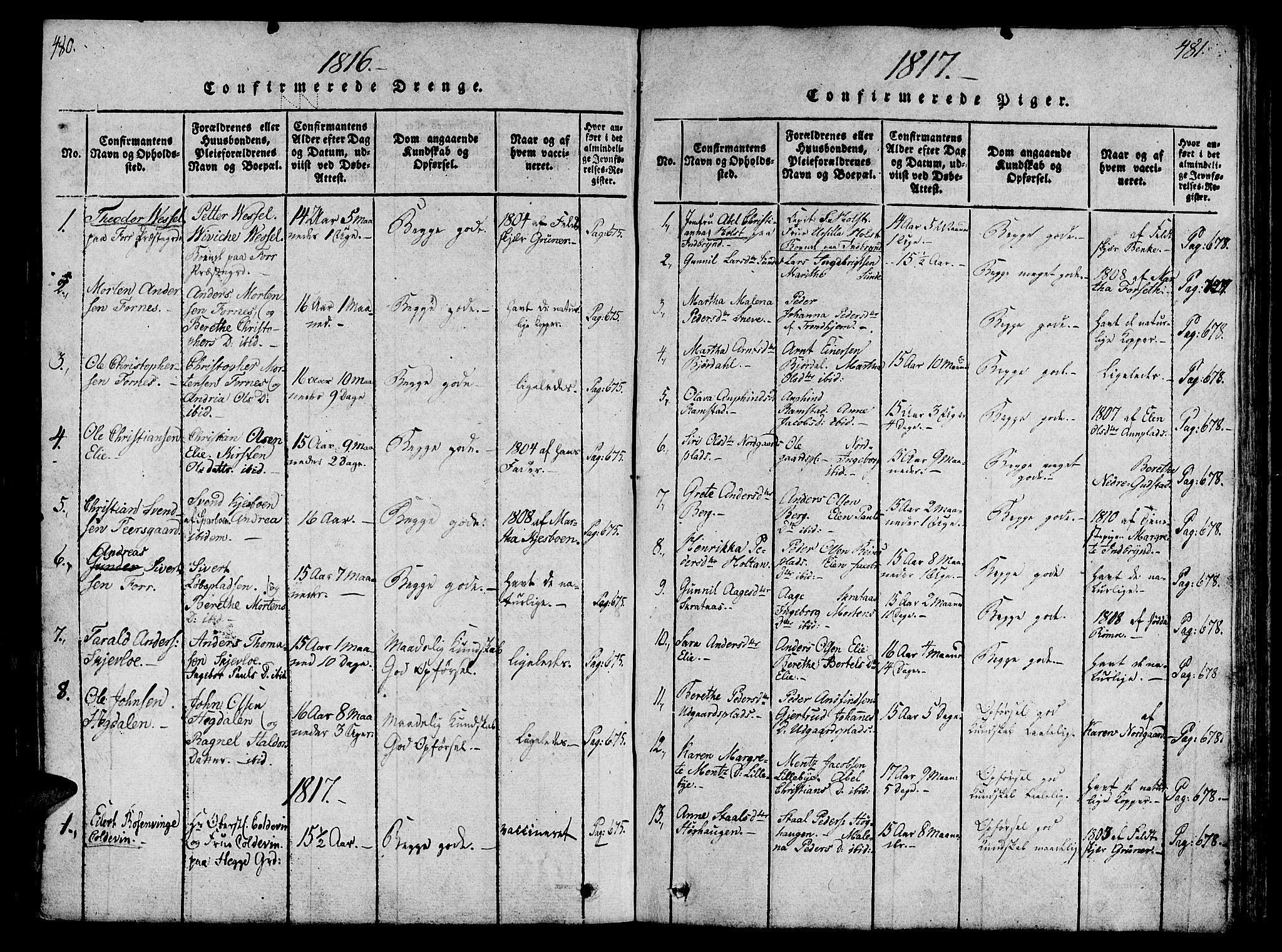 SAT, Ministerialprotokoller, klokkerbøker og fødselsregistre - Nord-Trøndelag, 746/L0441: Ministerialbok nr. 746A03 /1, 1816-1827, s. 480-481