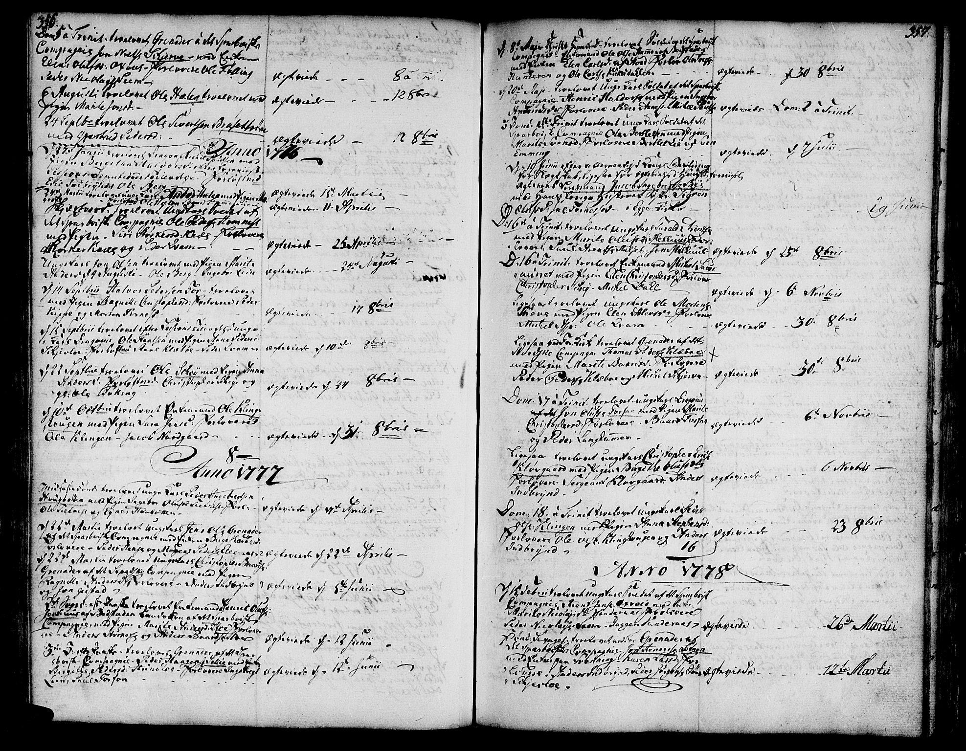 SAT, Ministerialprotokoller, klokkerbøker og fødselsregistre - Nord-Trøndelag, 746/L0440: Ministerialbok nr. 746A02, 1760-1815, s. 356-357