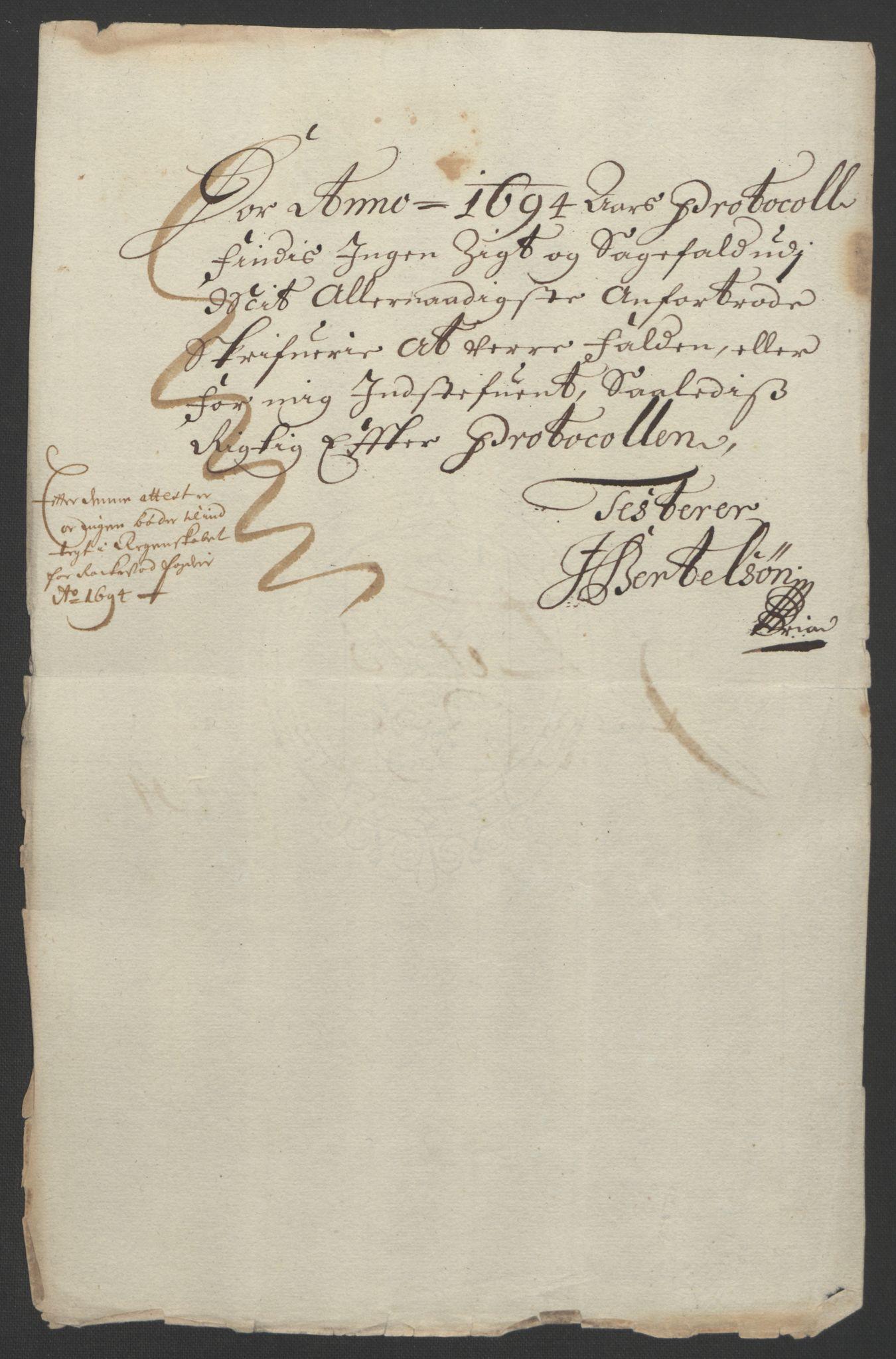 RA, Rentekammeret inntil 1814, Reviderte regnskaper, Fogderegnskap, R07/L0284: Fogderegnskap Rakkestad, Heggen og Frøland, 1694, s. 24