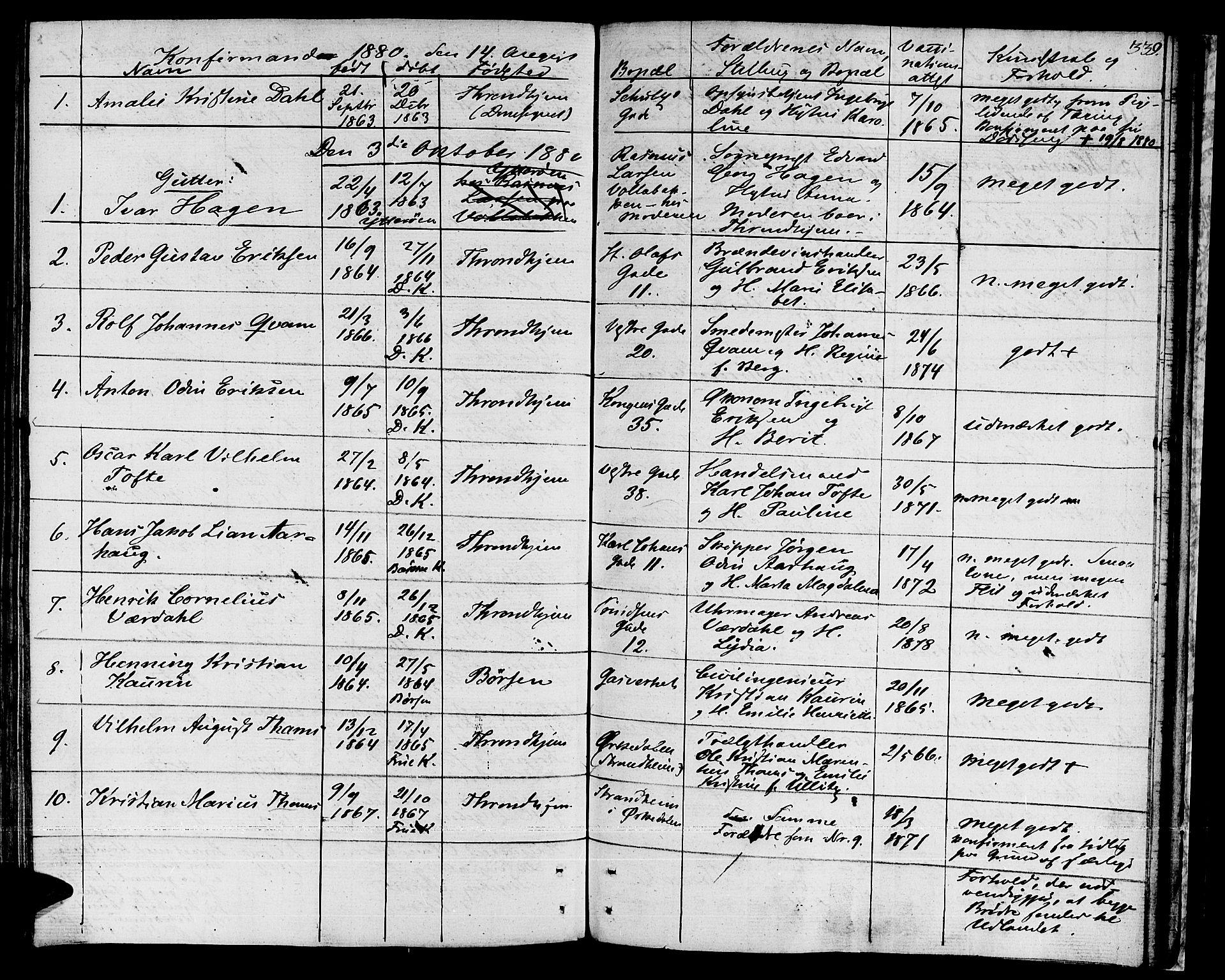 SAT, Ministerialprotokoller, klokkerbøker og fødselsregistre - Sør-Trøndelag, 601/L0070: Residerende kapellans bok nr. 601B03, 1821-1881, s. 339