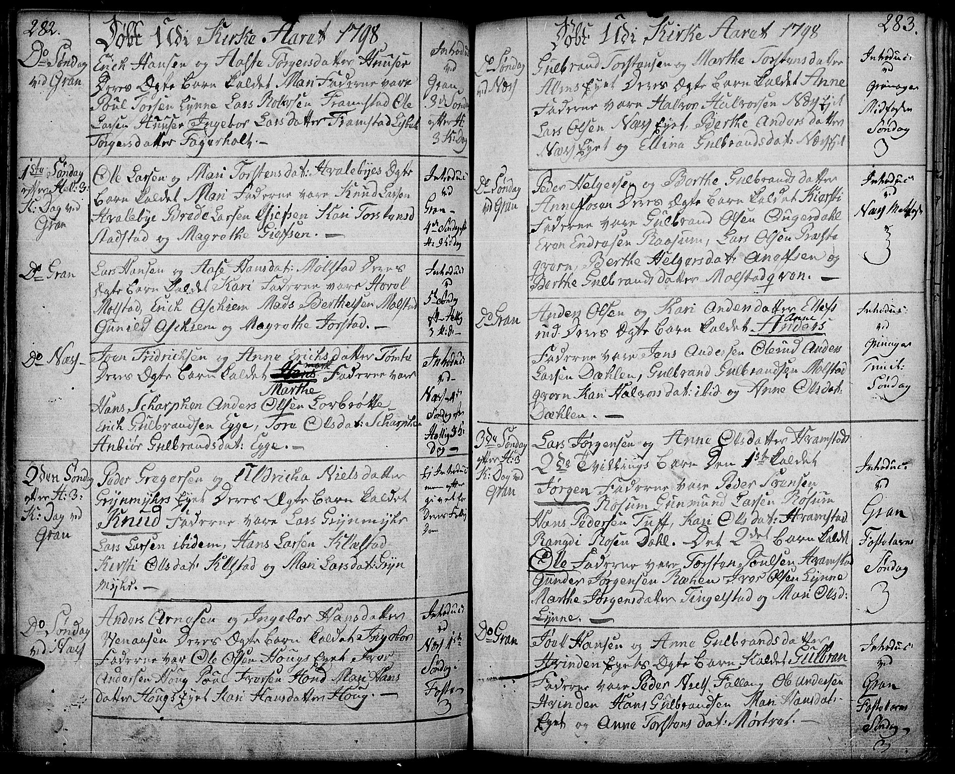SAH, Gran prestekontor, Ministerialbok nr. 6, 1787-1824, s. 282-283