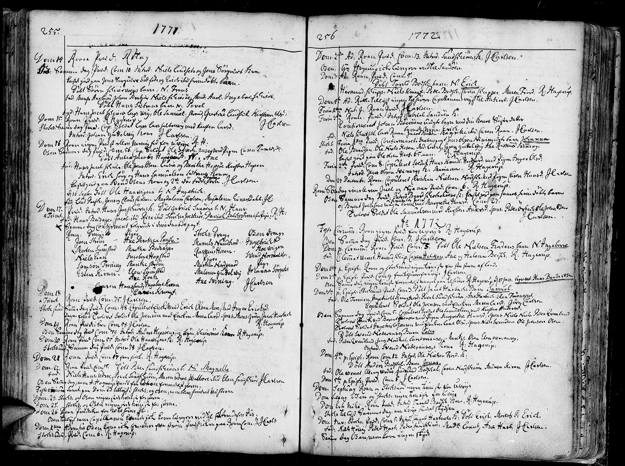 SAT, Ministerialprotokoller, klokkerbøker og fødselsregistre - Sør-Trøndelag, 657/L0700: Ministerialbok nr. 657A01, 1732-1801, s. 255-256