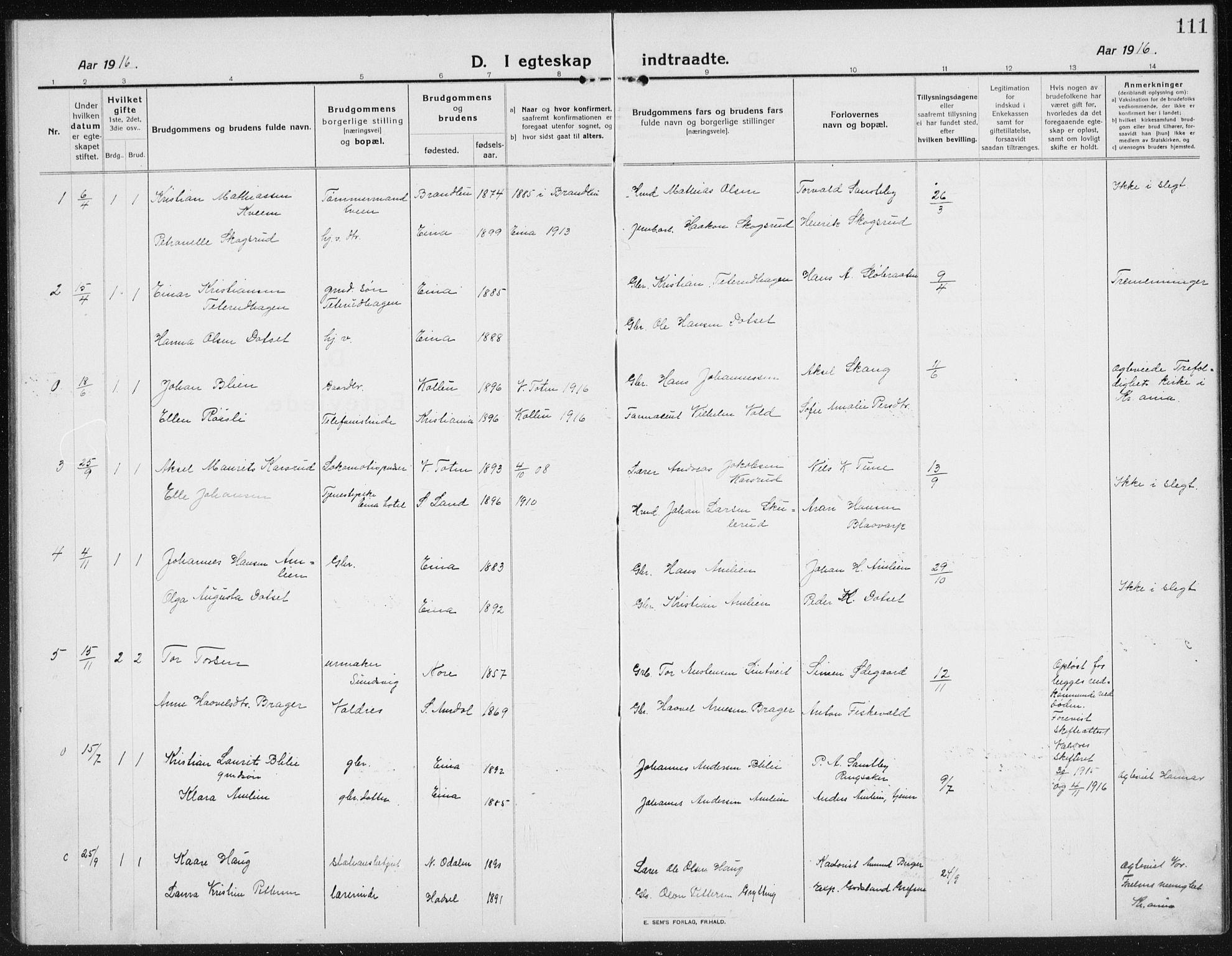 SAH, Kolbu prestekontor, Klokkerbok nr. 6, 1916-1934, s. 111