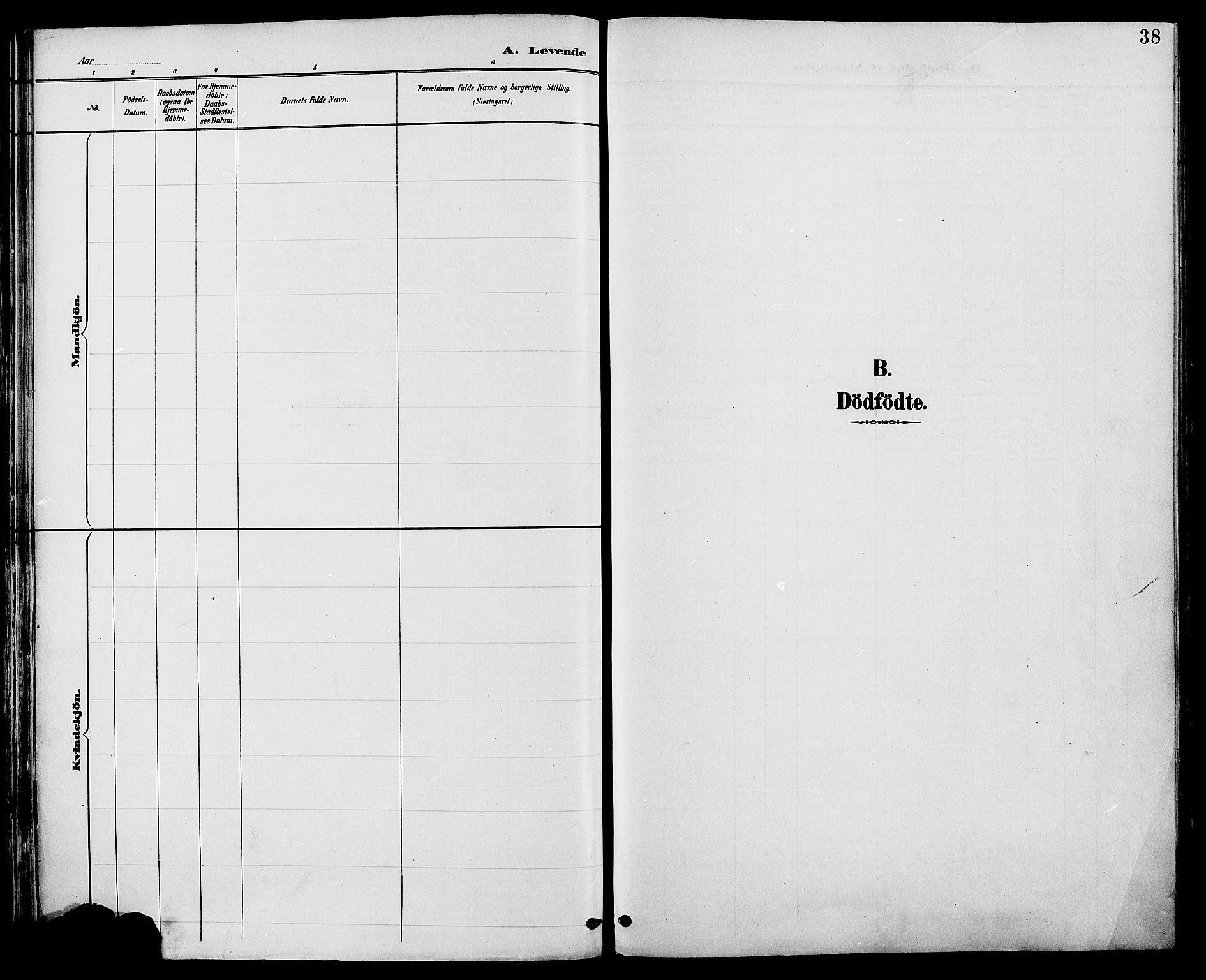 SAH, Biri prestekontor, Ministerialbok nr. 7, 1887-1893, s. 38