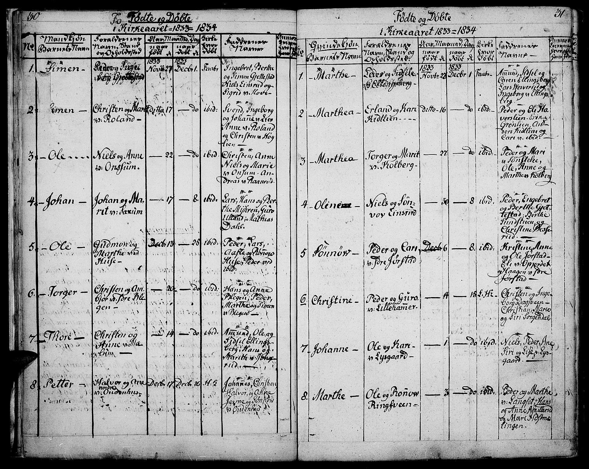 SAH, Fåberg prestekontor, Ministerialbok nr. 4, 1833-1837, s. 30-31
