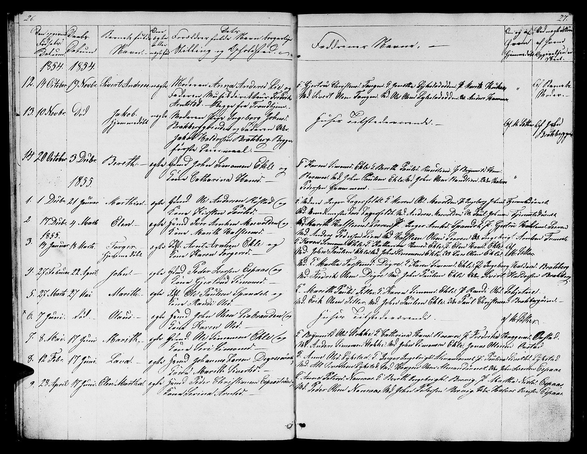 SAT, Ministerialprotokoller, klokkerbøker og fødselsregistre - Sør-Trøndelag, 608/L0339: Klokkerbok nr. 608C05, 1844-1863, s. 26-27