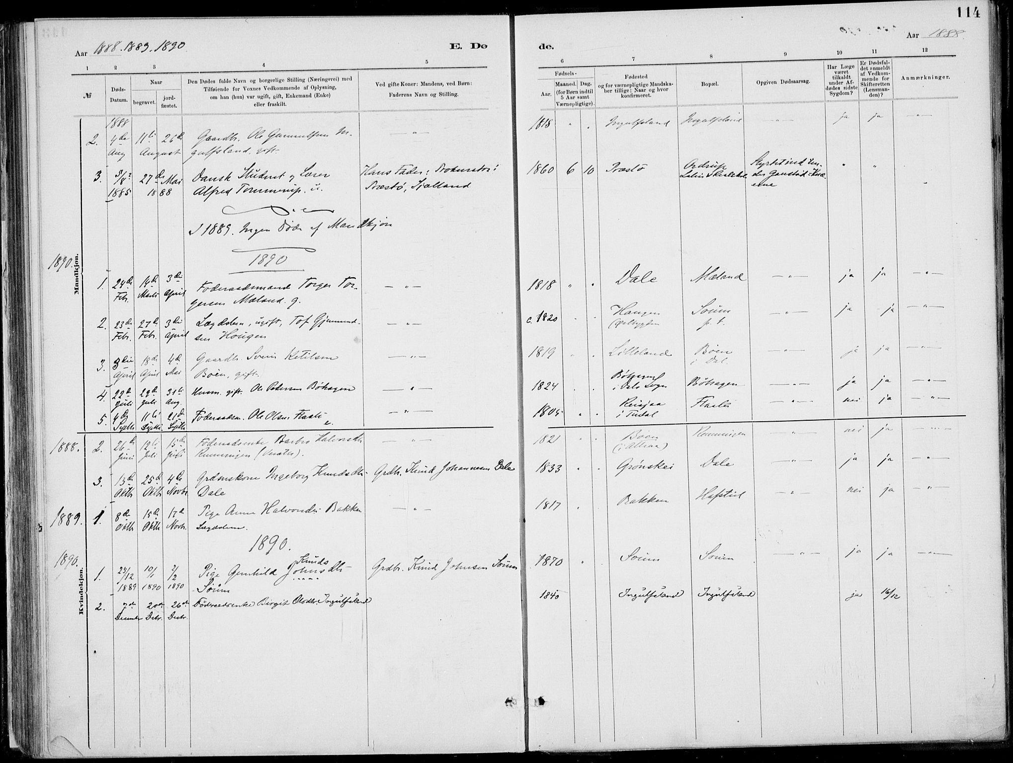 SAKO, Rjukan kirkebøker, F/Fa/L0001: Ministerialbok nr. 1, 1878-1912, s. 114