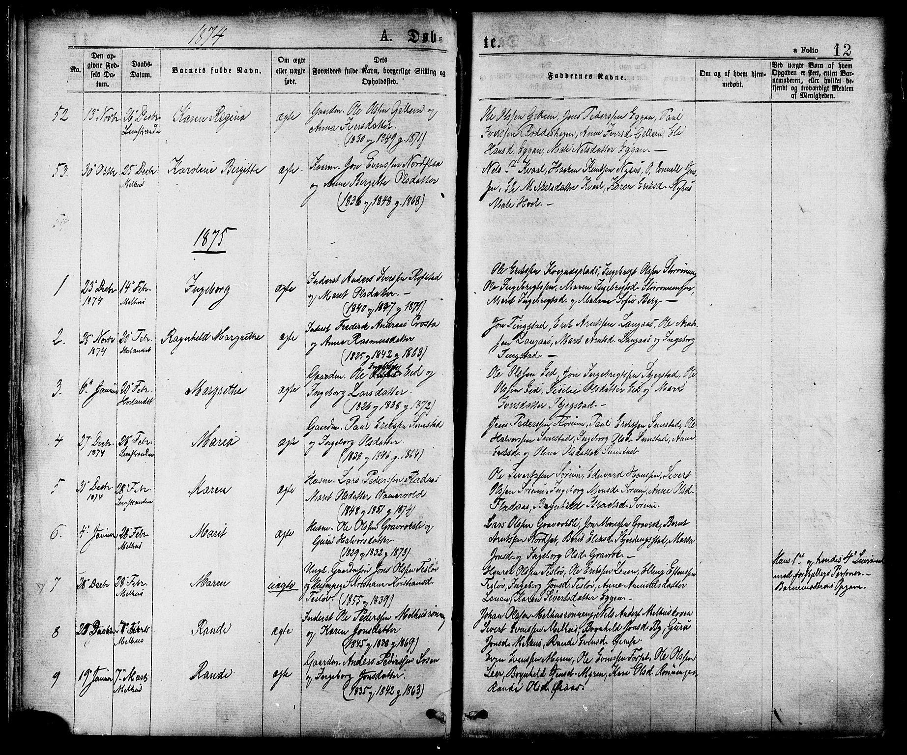 SAT, Ministerialprotokoller, klokkerbøker og fødselsregistre - Sør-Trøndelag, 691/L1079: Ministerialbok nr. 691A11, 1873-1886, s. 12