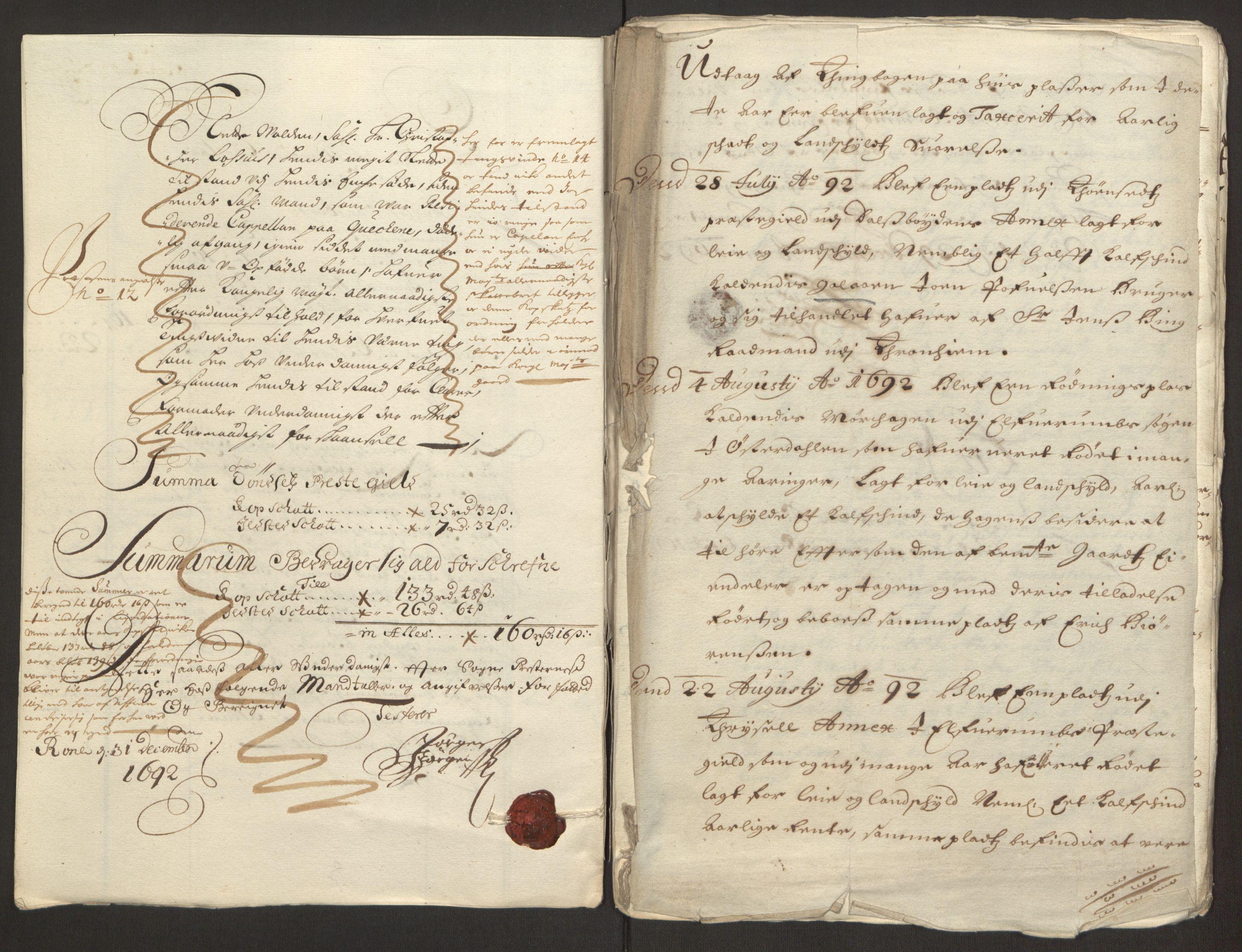 RA, Rentekammeret inntil 1814, Reviderte regnskaper, Fogderegnskap, R13/L0830: Fogderegnskap Solør, Odal og Østerdal, 1692, s. 276