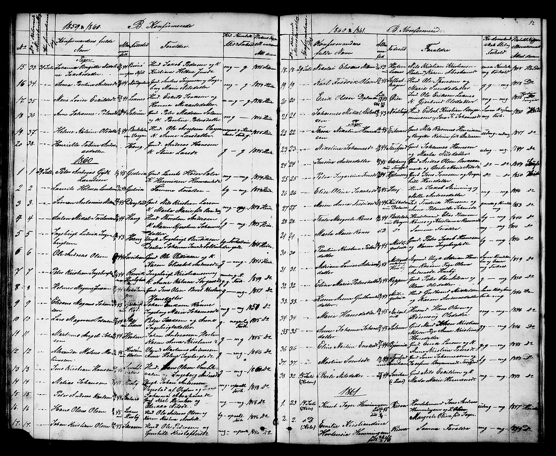 SAT, Ministerialprotokoller, klokkerbøker og fødselsregistre - Nord-Trøndelag, 788/L0695: Ministerialbok nr. 788A02, 1843-1862, s. 52