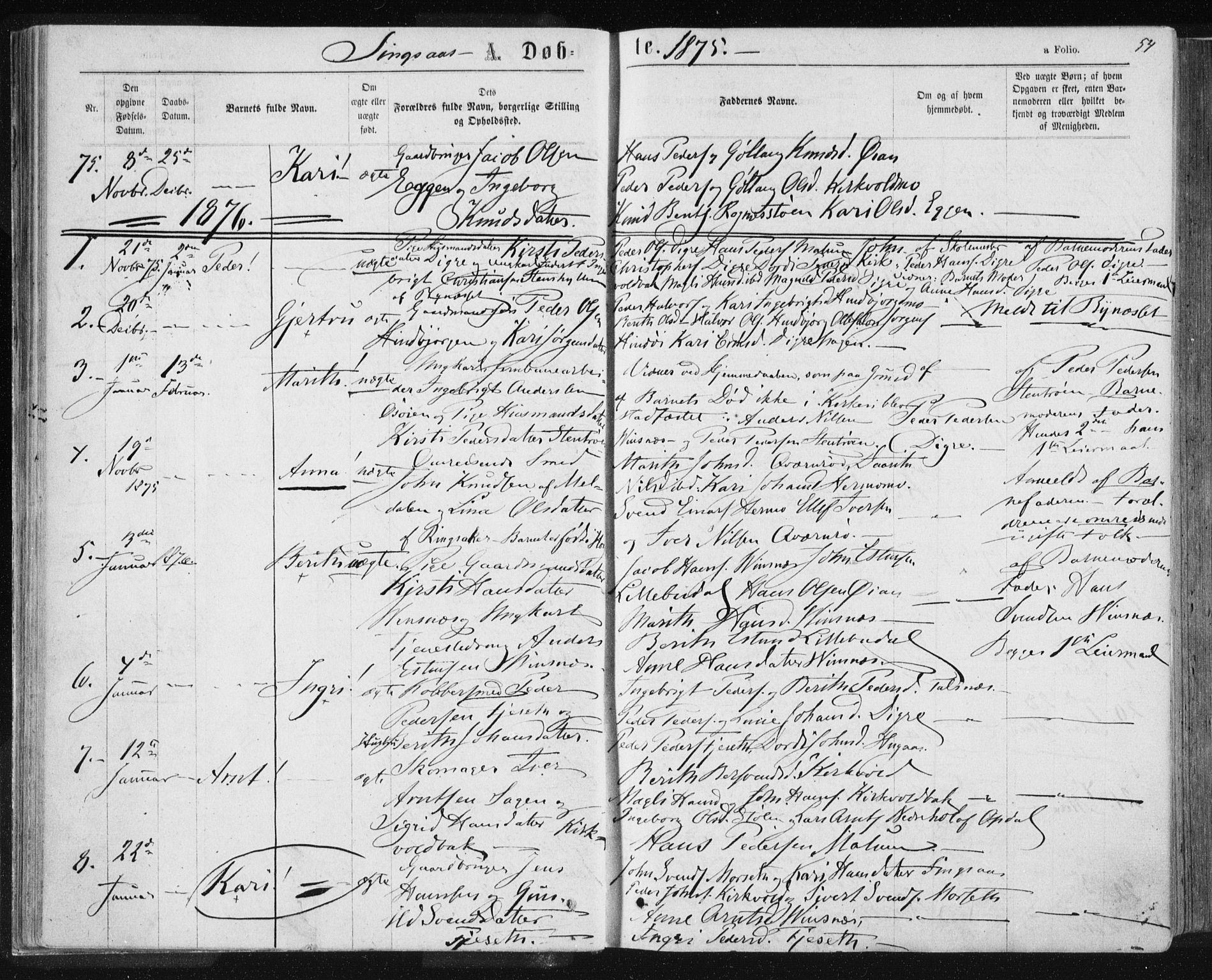 SAT, Ministerialprotokoller, klokkerbøker og fødselsregistre - Sør-Trøndelag, 685/L0970: Ministerialbok nr. 685A08 /2, 1870-1878, s. 54