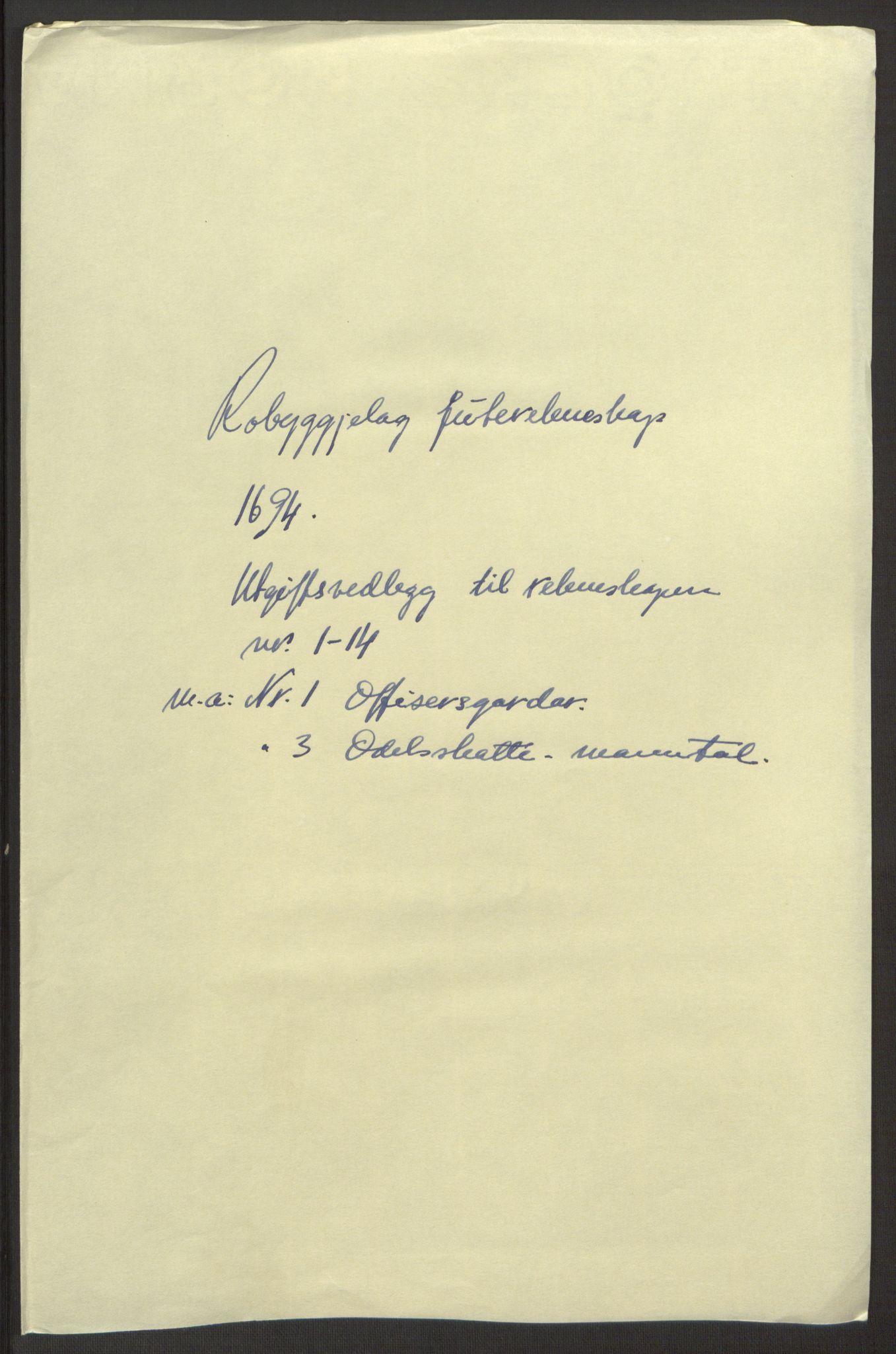 RA, Rentekammeret inntil 1814, Reviderte regnskaper, Fogderegnskap, R40/L2444: Fogderegnskap Råbyggelag, 1693-1696, s. 127