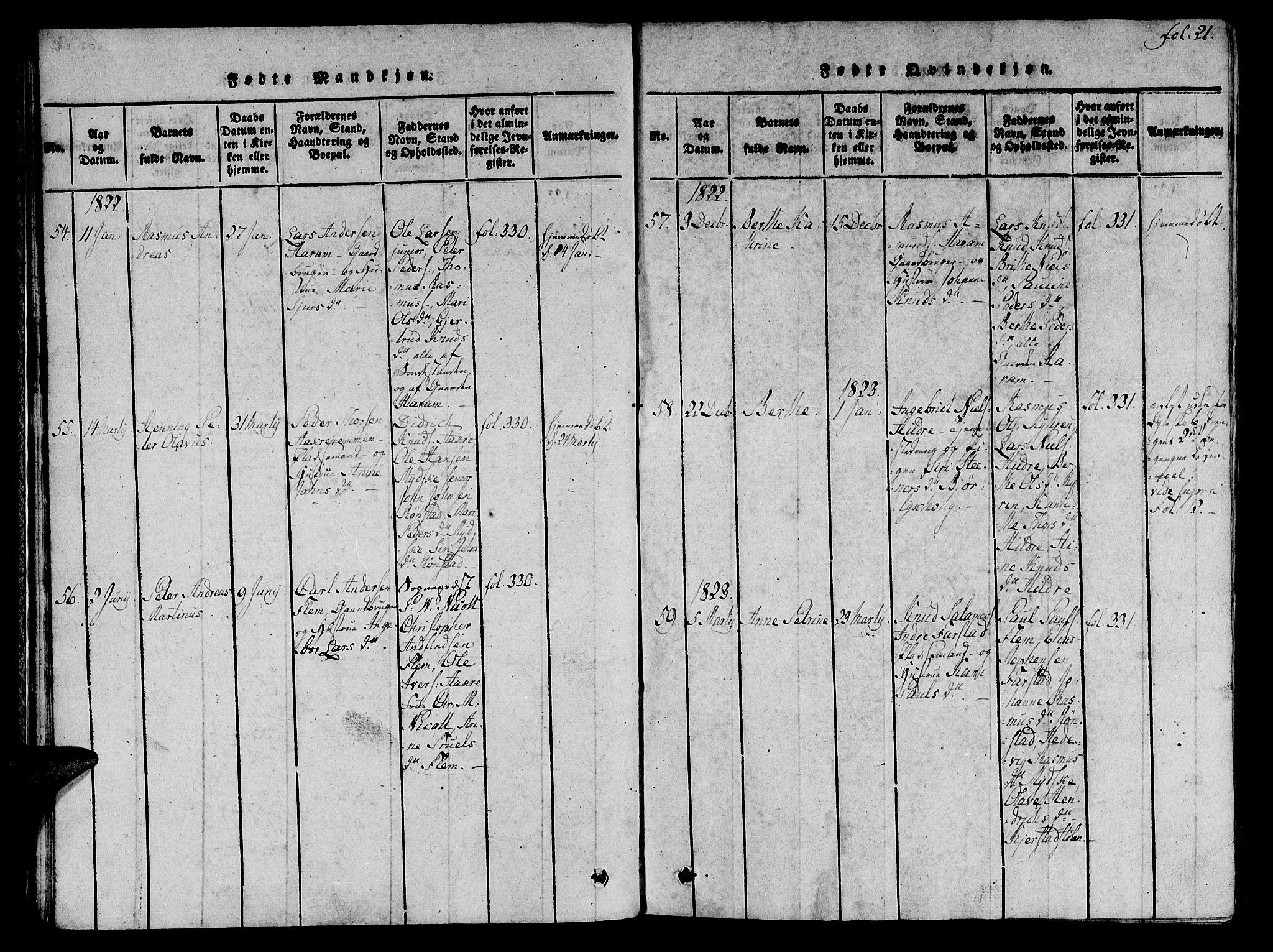 SAT, Ministerialprotokoller, klokkerbøker og fødselsregistre - Møre og Romsdal, 536/L0495: Ministerialbok nr. 536A04, 1818-1847, s. 21