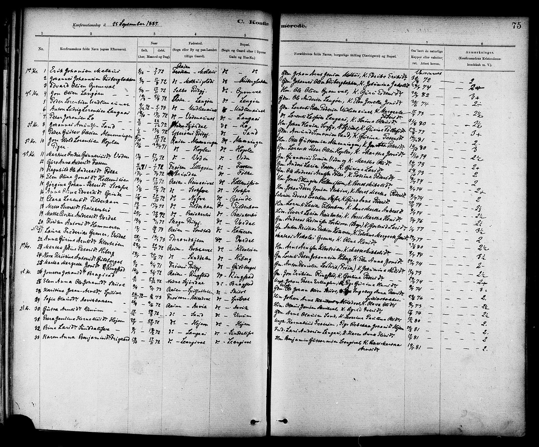 SAT, Ministerialprotokoller, klokkerbøker og fødselsregistre - Nord-Trøndelag, 714/L0130: Ministerialbok nr. 714A01, 1878-1895, s. 75